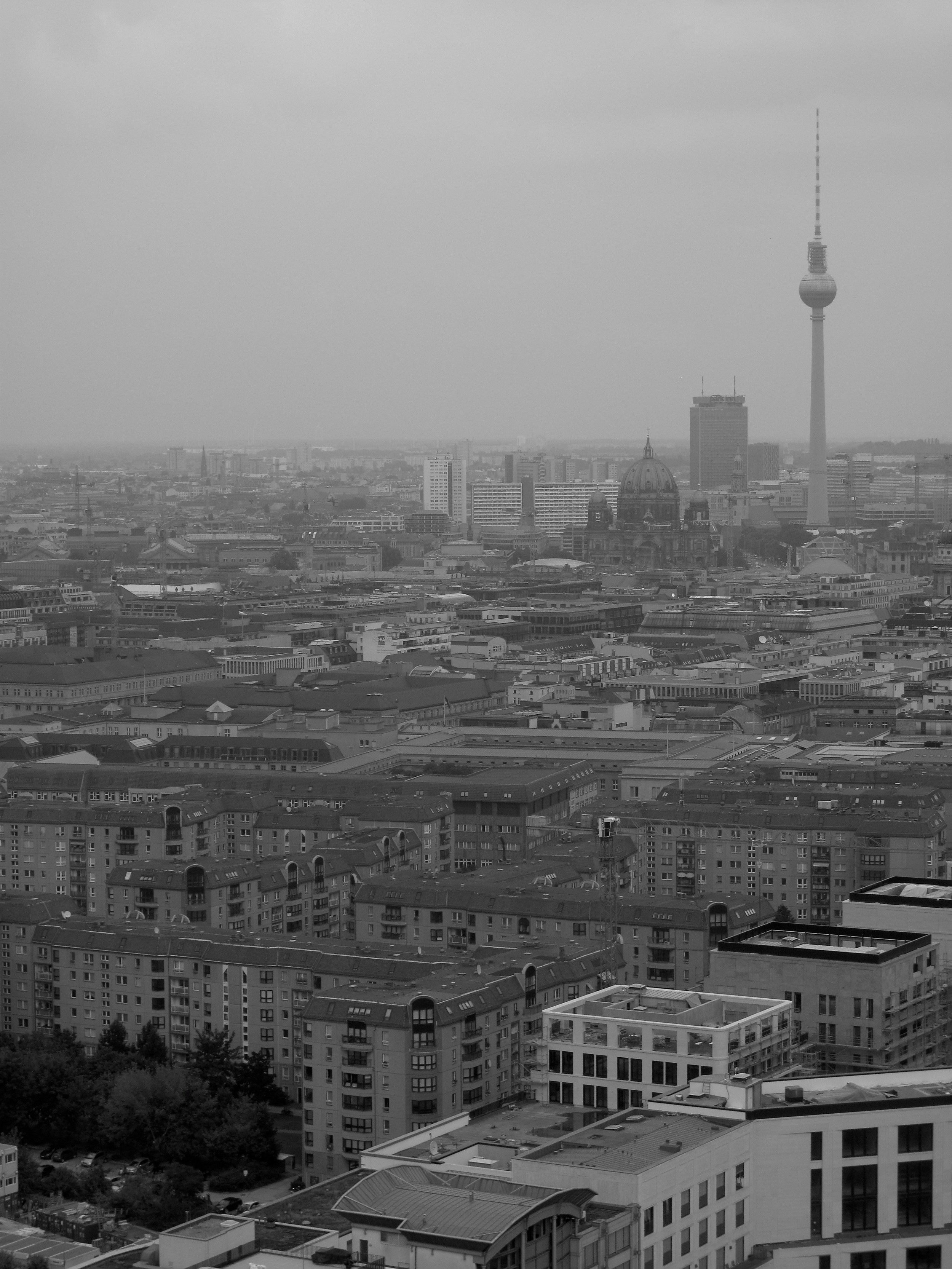 Fernsehturm and the Berlin skyline seen from above.