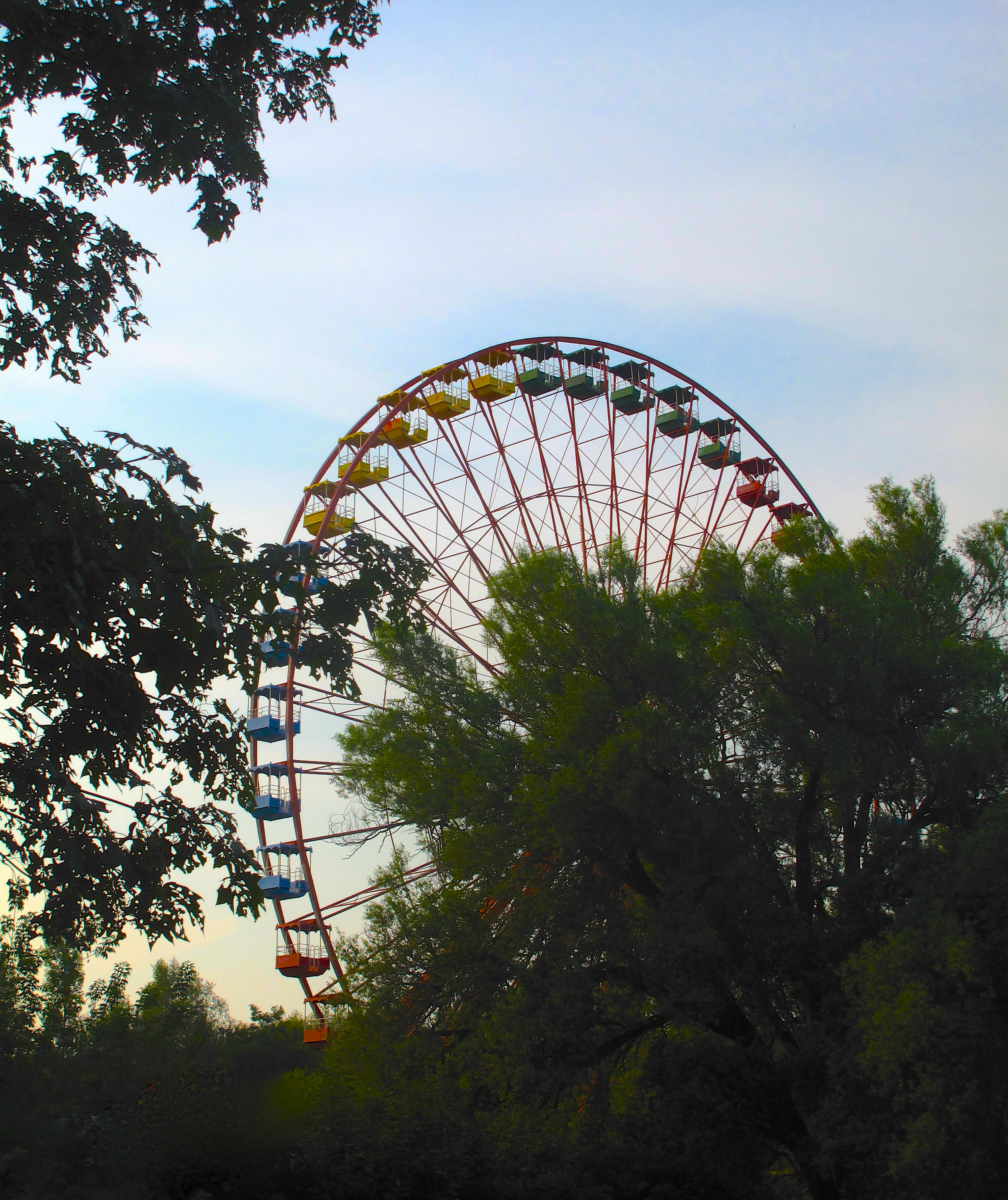 The old ferris wheel at Spree Park in Berlin - it still moves and creaks around.