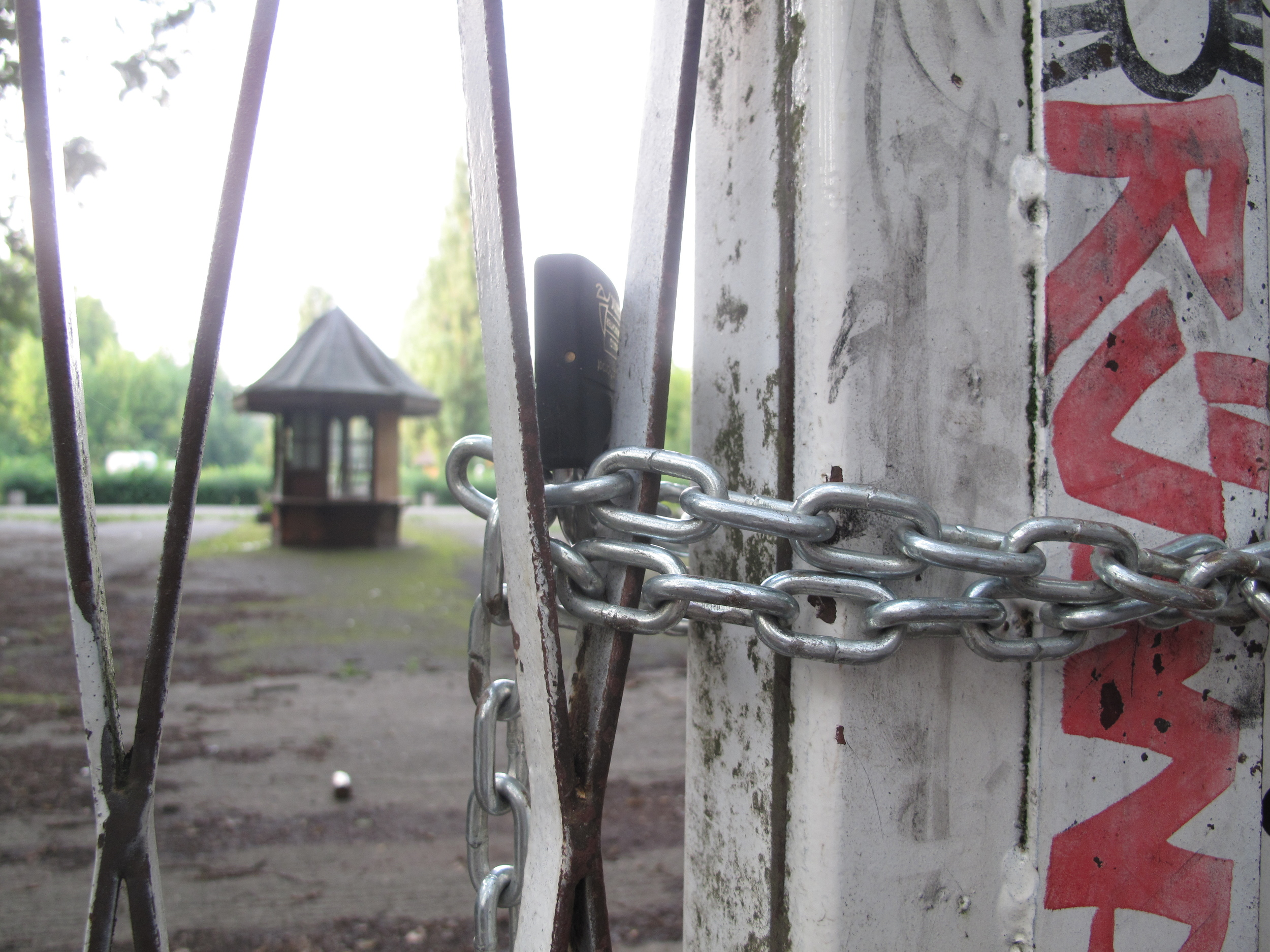Gates to Spree Park the abandoned theme park - locked up.