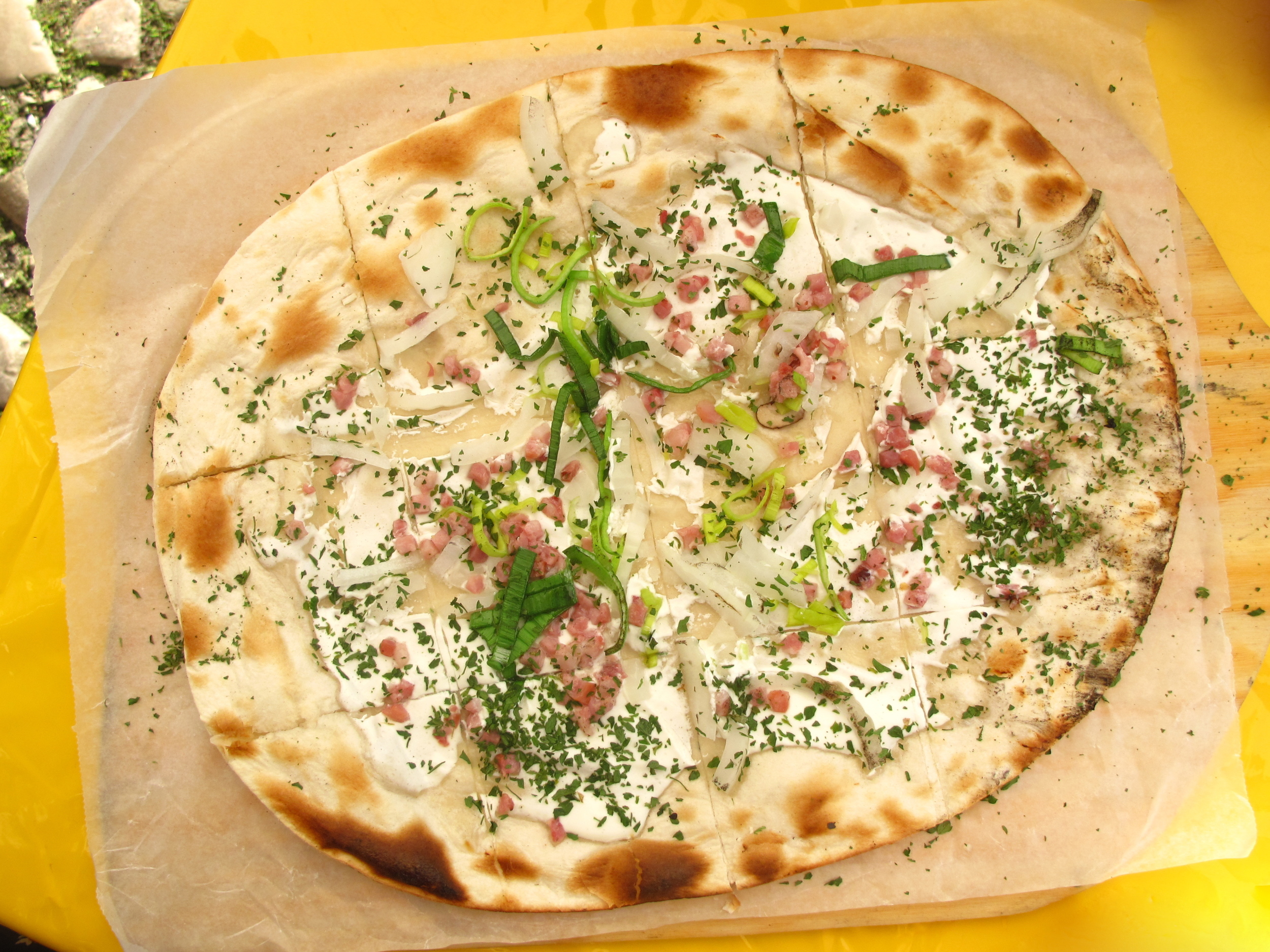 Flammkuchen - like a German pizza bread.