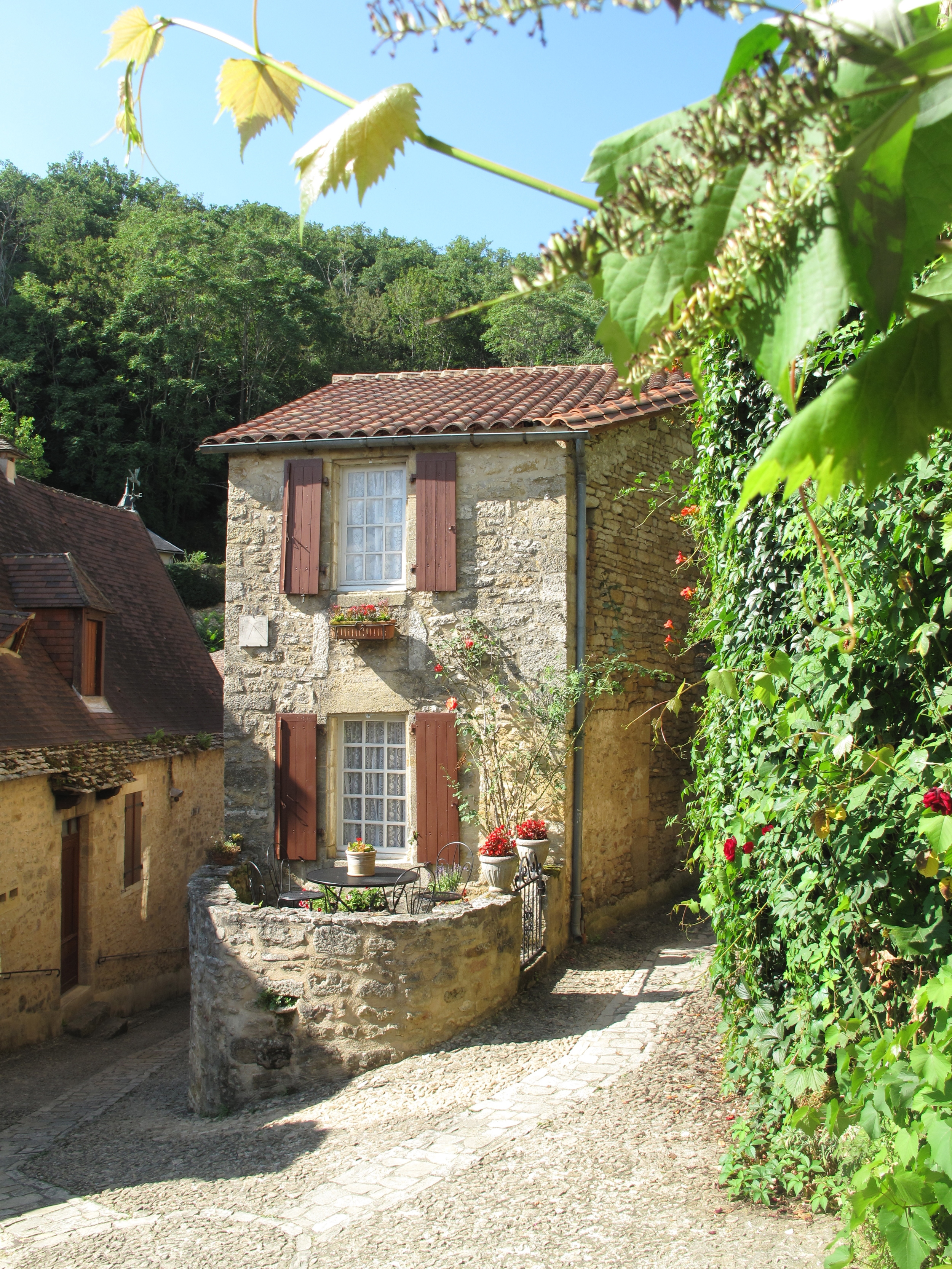 Les Eyzies beautiful medieval villages on a hill in France - stone houses, narrow lanes and roses