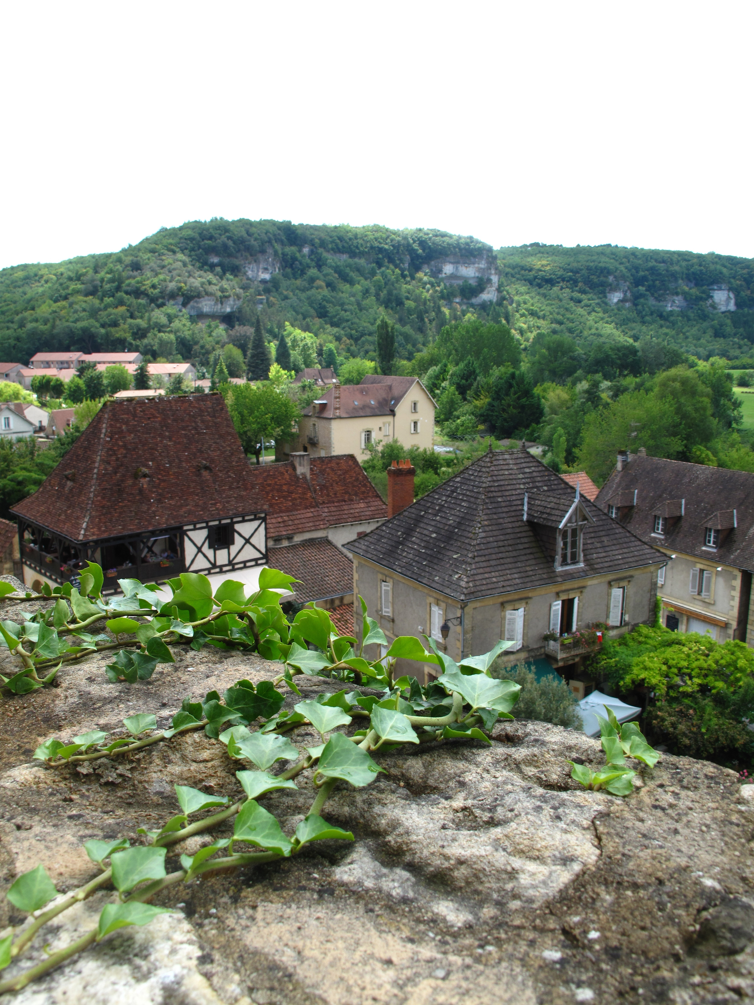 Les Eyzies de Tayac, looking out from the stone wall to the rooftops of the Dordogne village