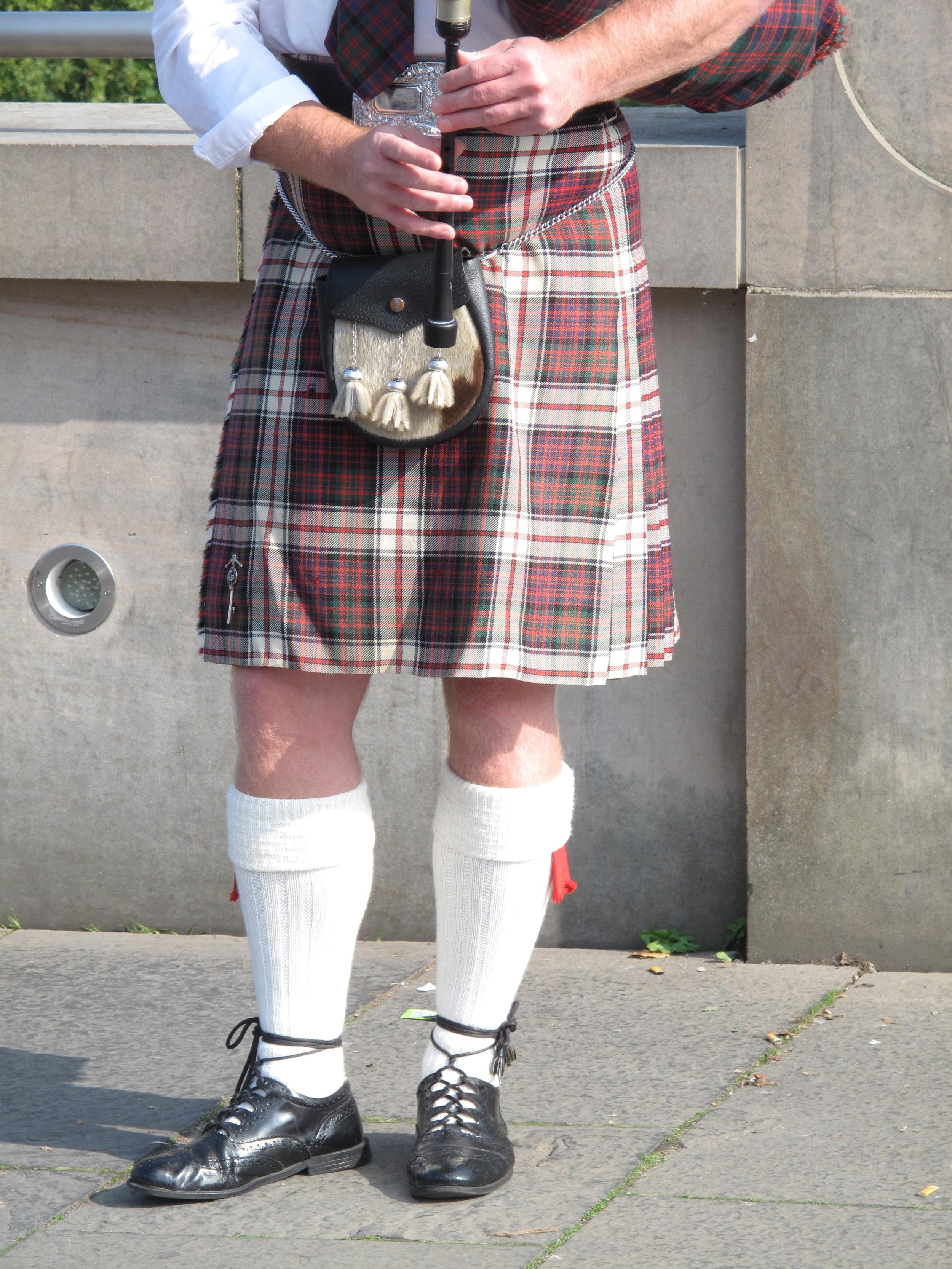 Kilt of a bagpiper, Edinburgh.