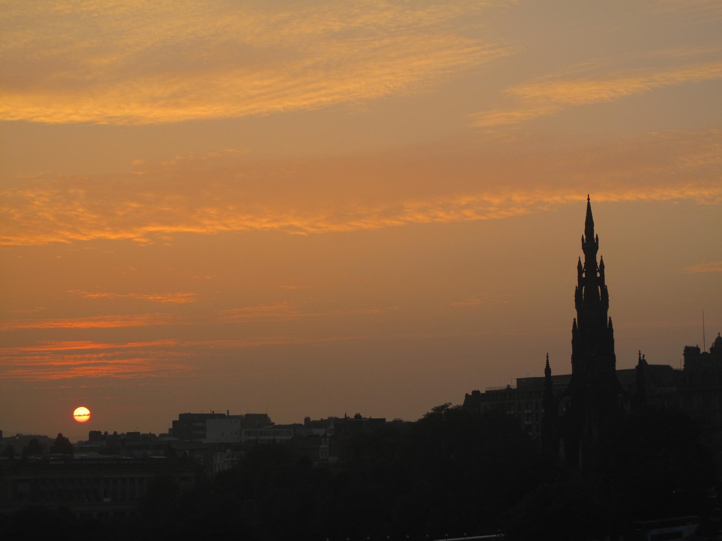 Edinburgh skyline at sunset.