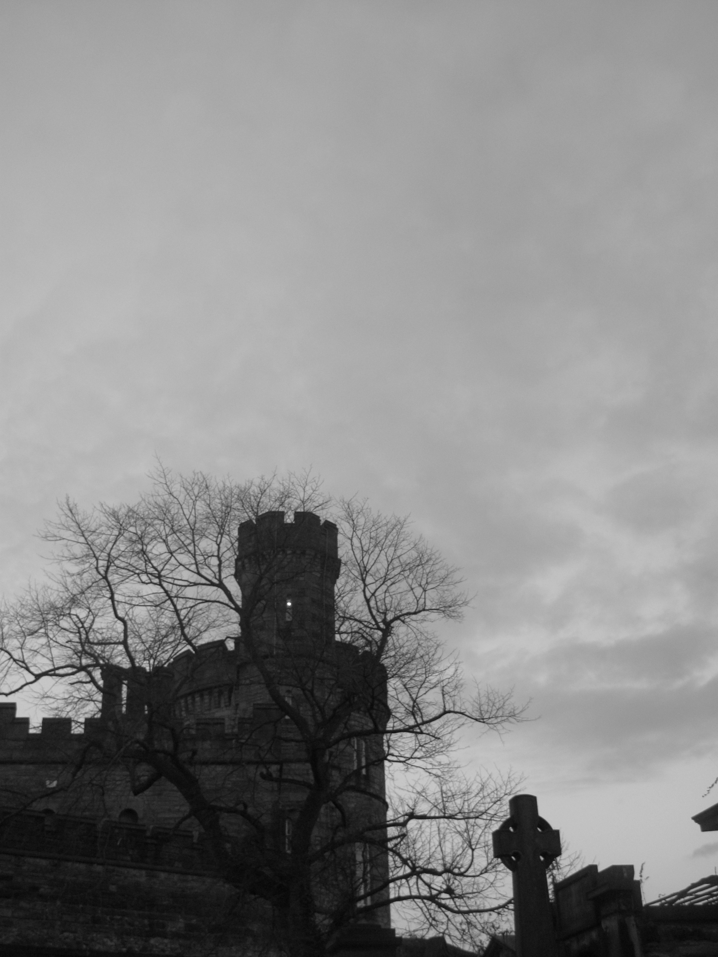 Circular turrets on the tombs in Old Calton cemetery