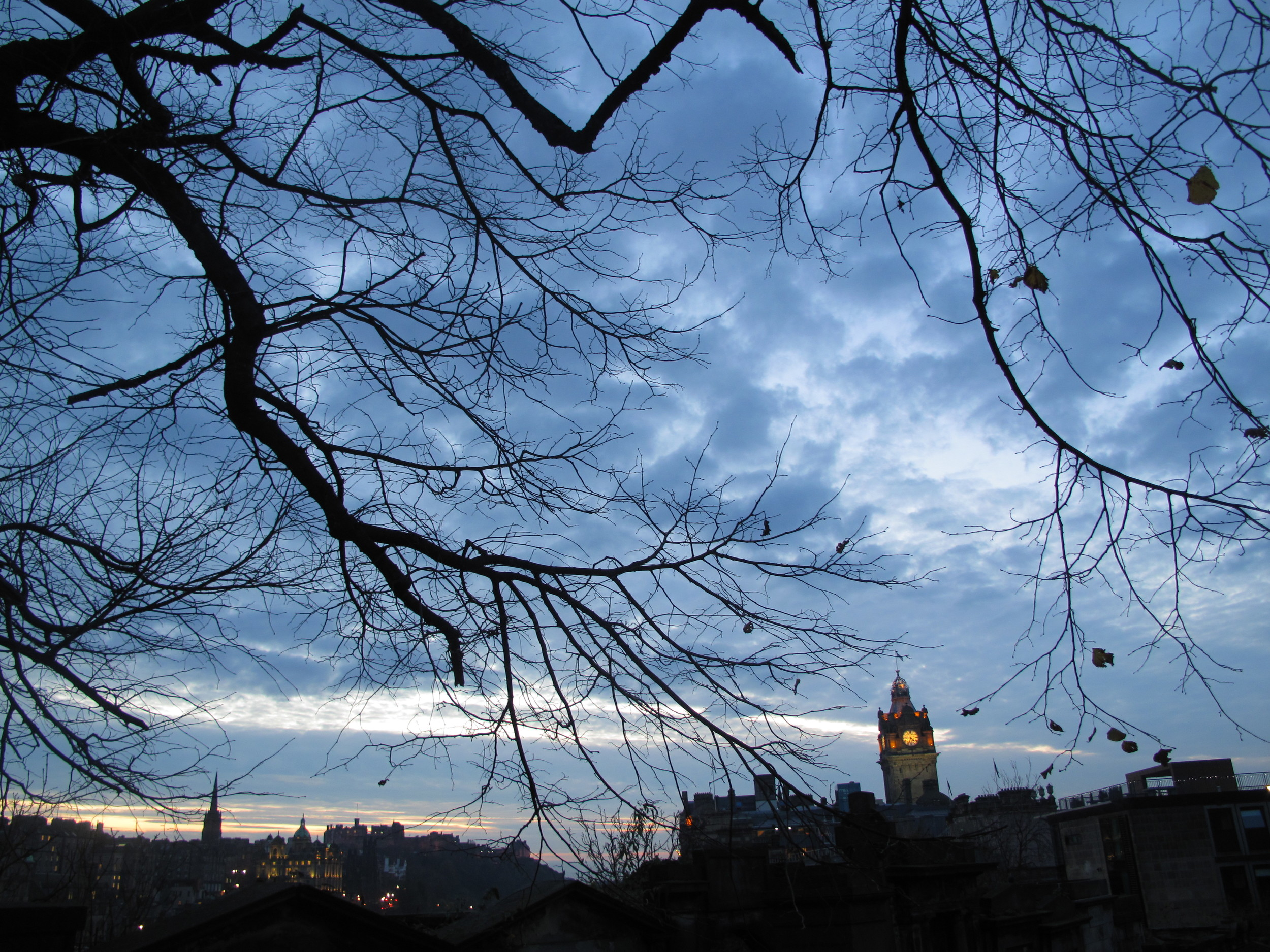Looking over Edinburgh Old Town from Calton Hill, through winter trees.