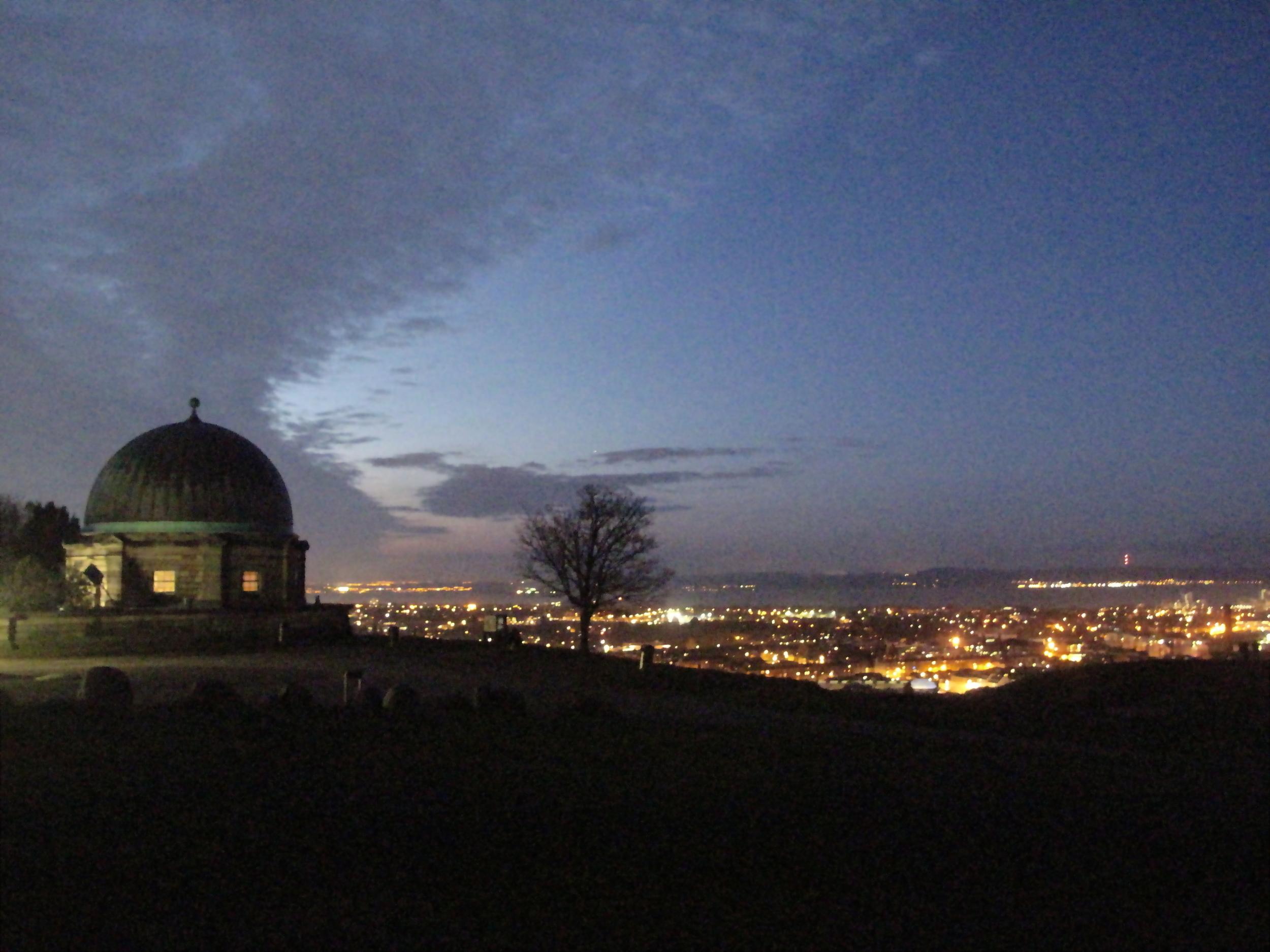 Calton Hill observatory at night, Edinburgh.