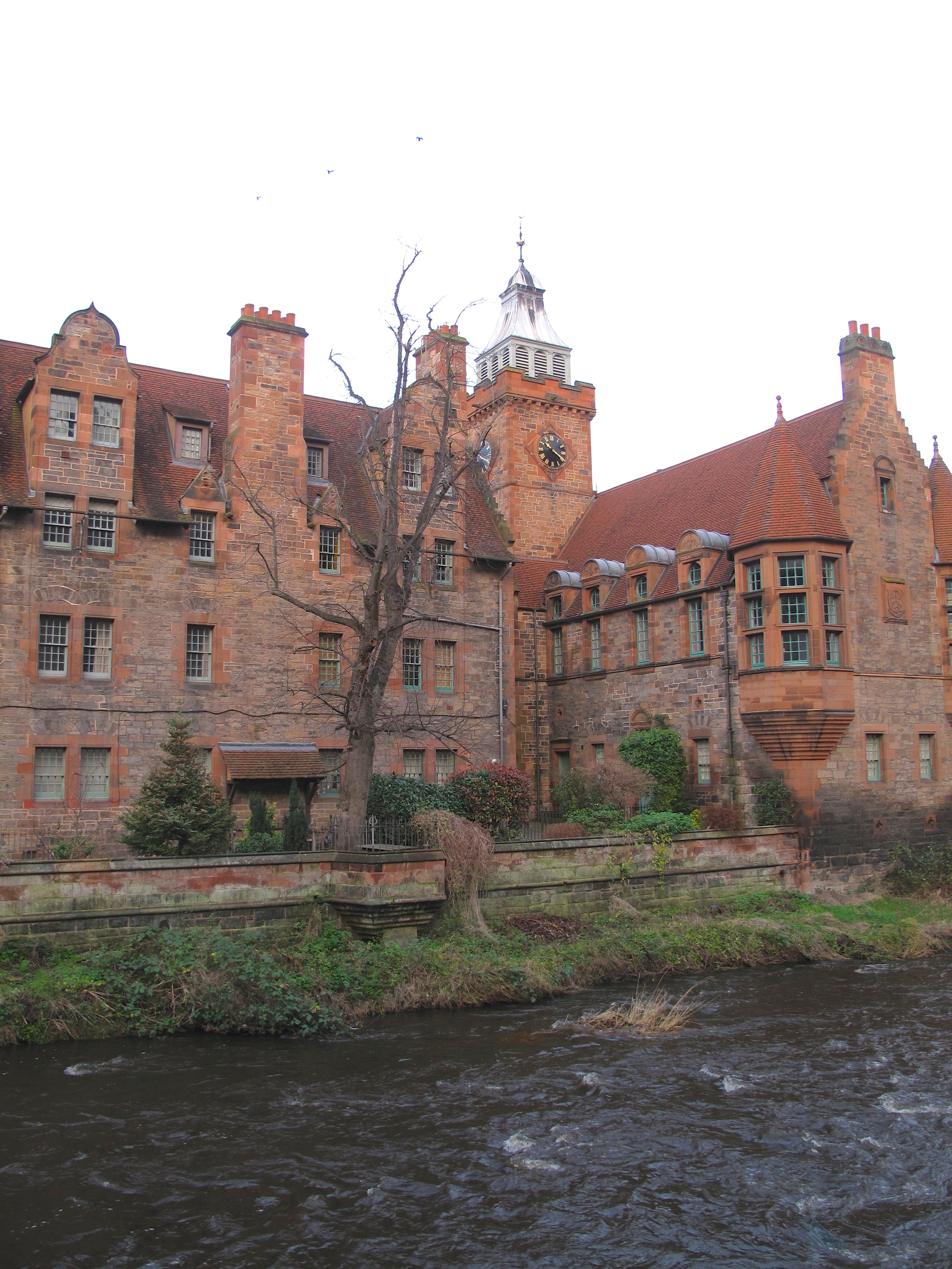 Dean Village Well Court by the river.