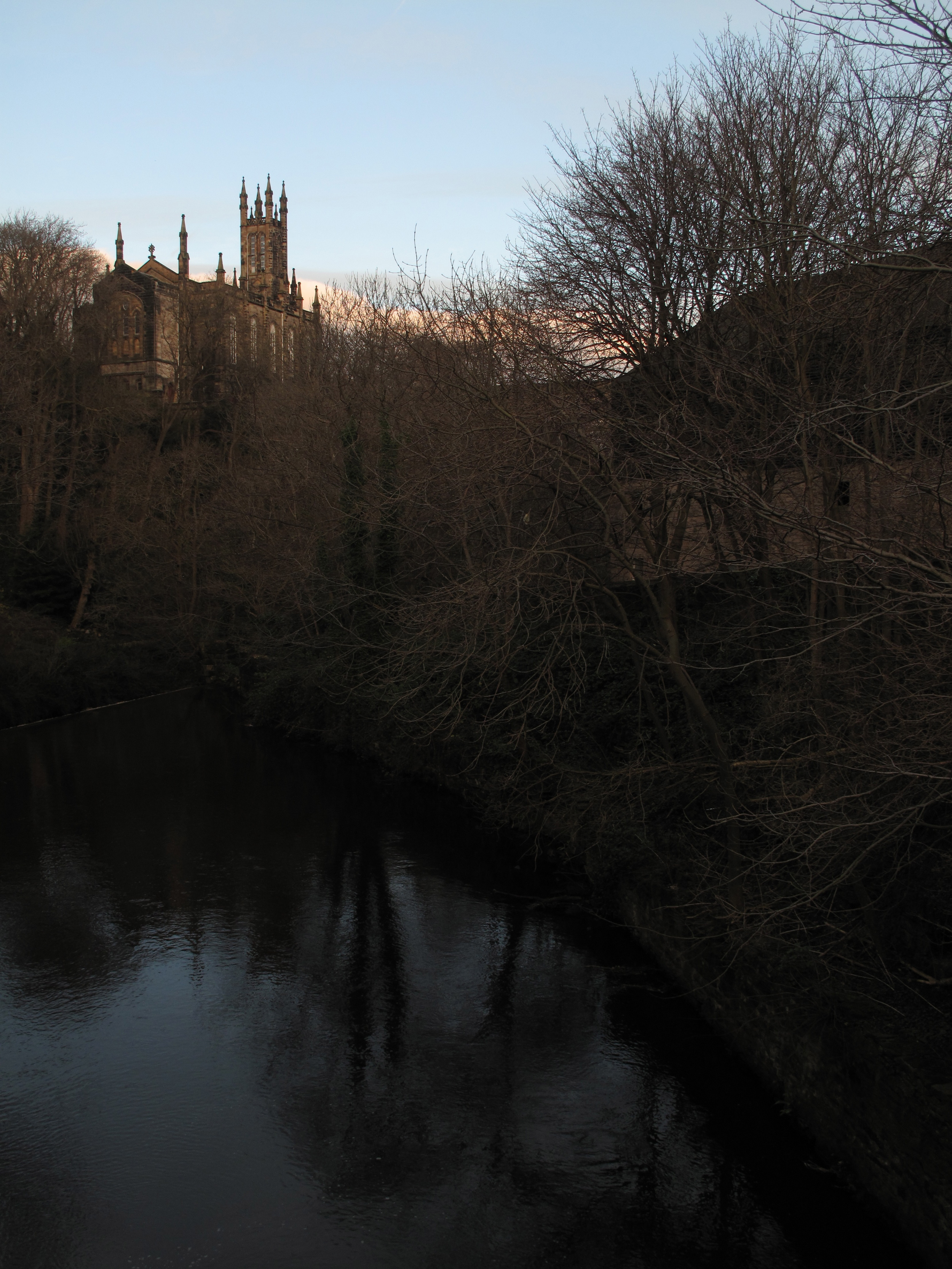 Dean Village and winter trees reflected in the dark Leith river.