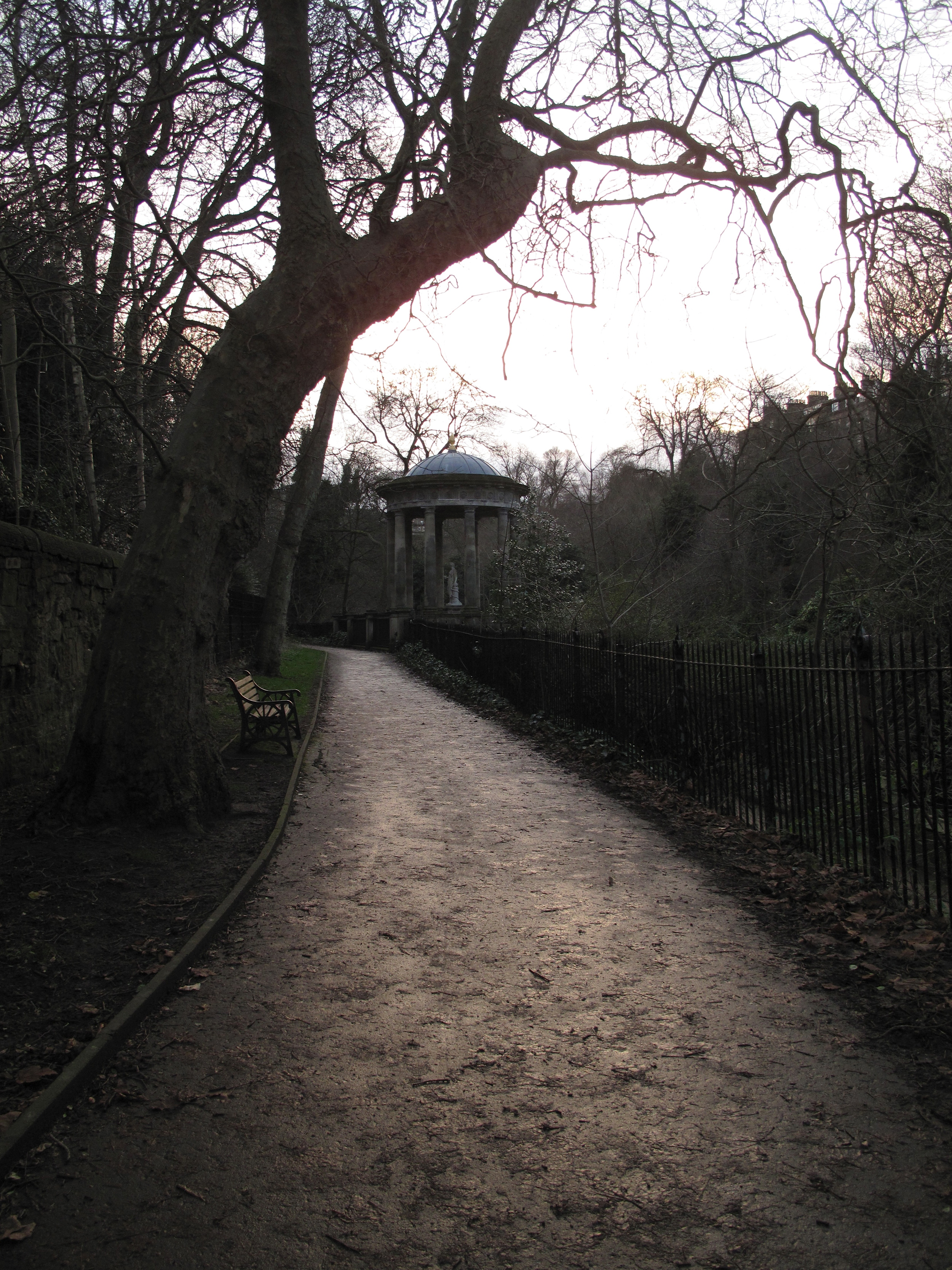 The Leith Walkway near Dean Village on a rainy day in winter.