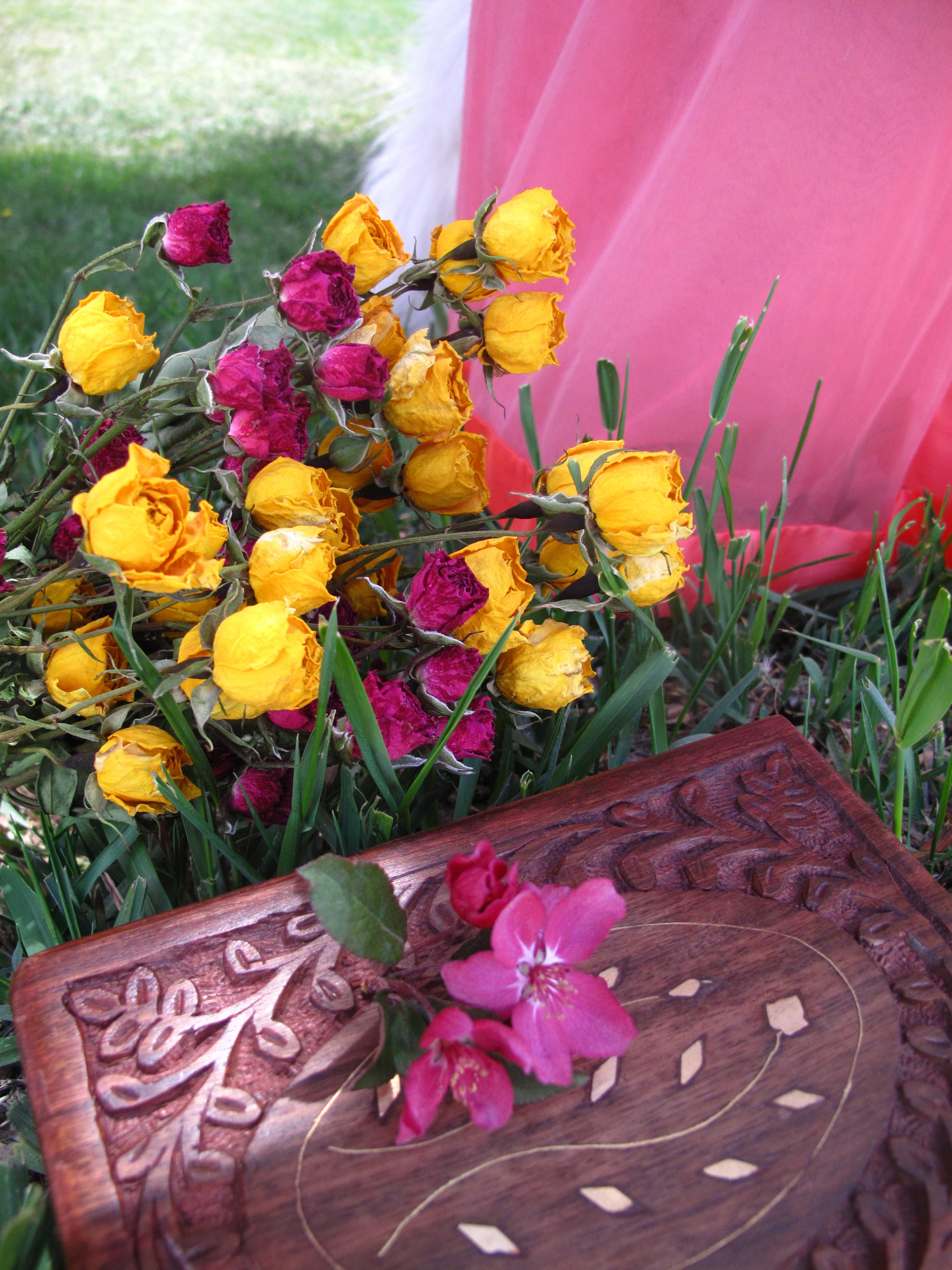 Dried roses and a wooden treasure box.