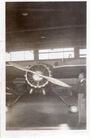 Great grandpa William Huestis with his plane.