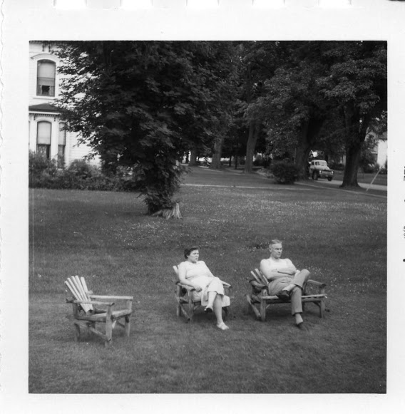 William and Betty out on the front lawn watching the world go by.