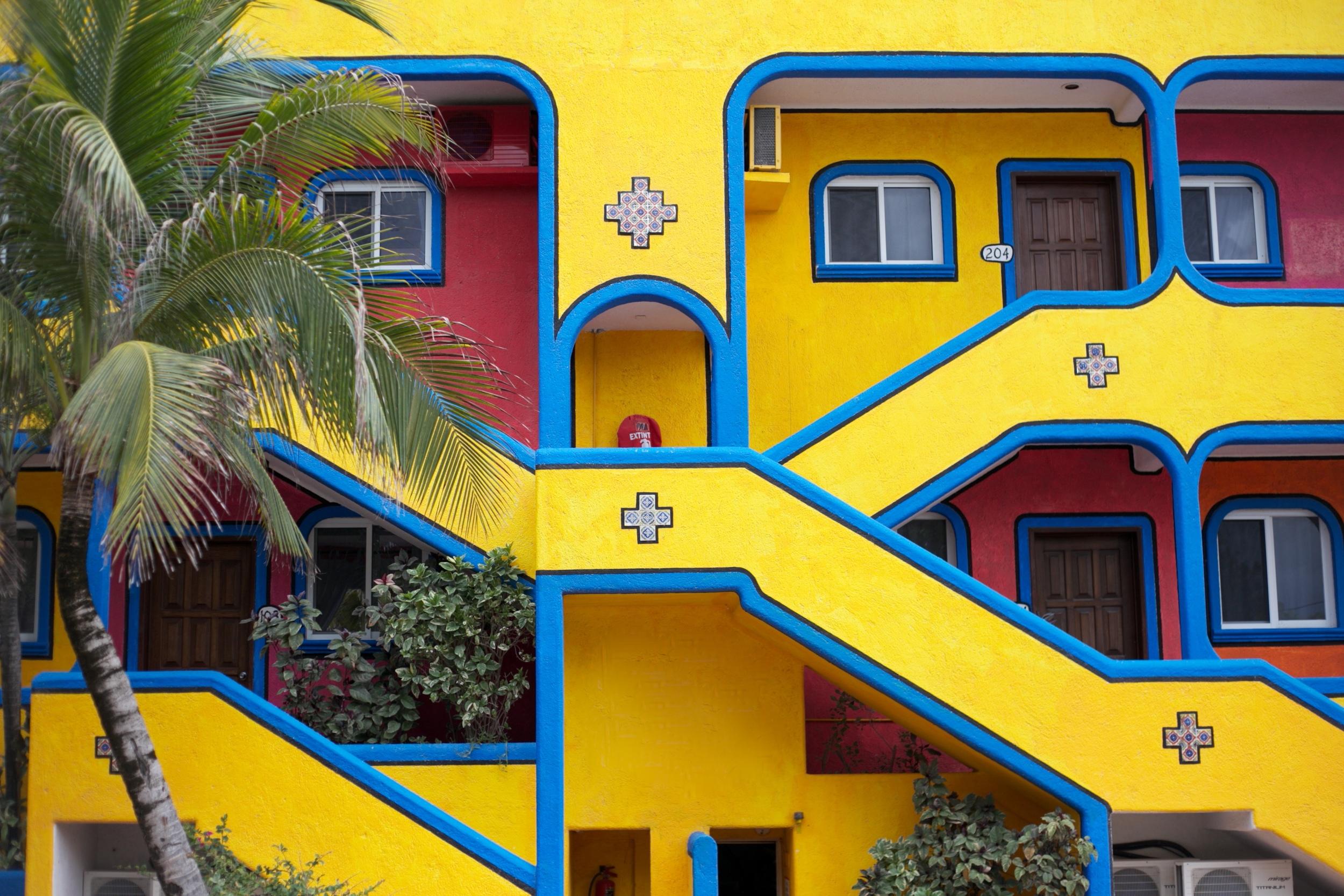 Colourful painted apartments in Akumal, near Cancun, Mexico.