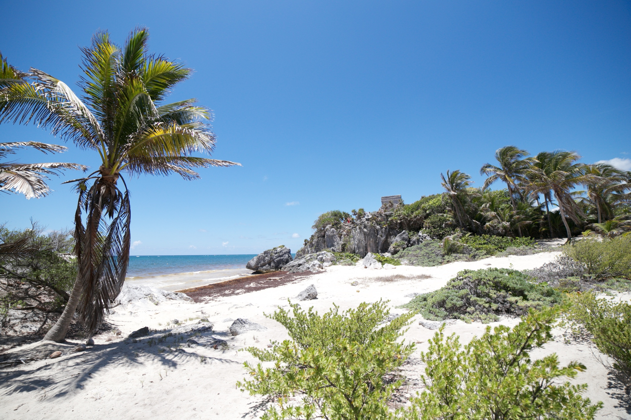On the beach in Tulum by the ruins.