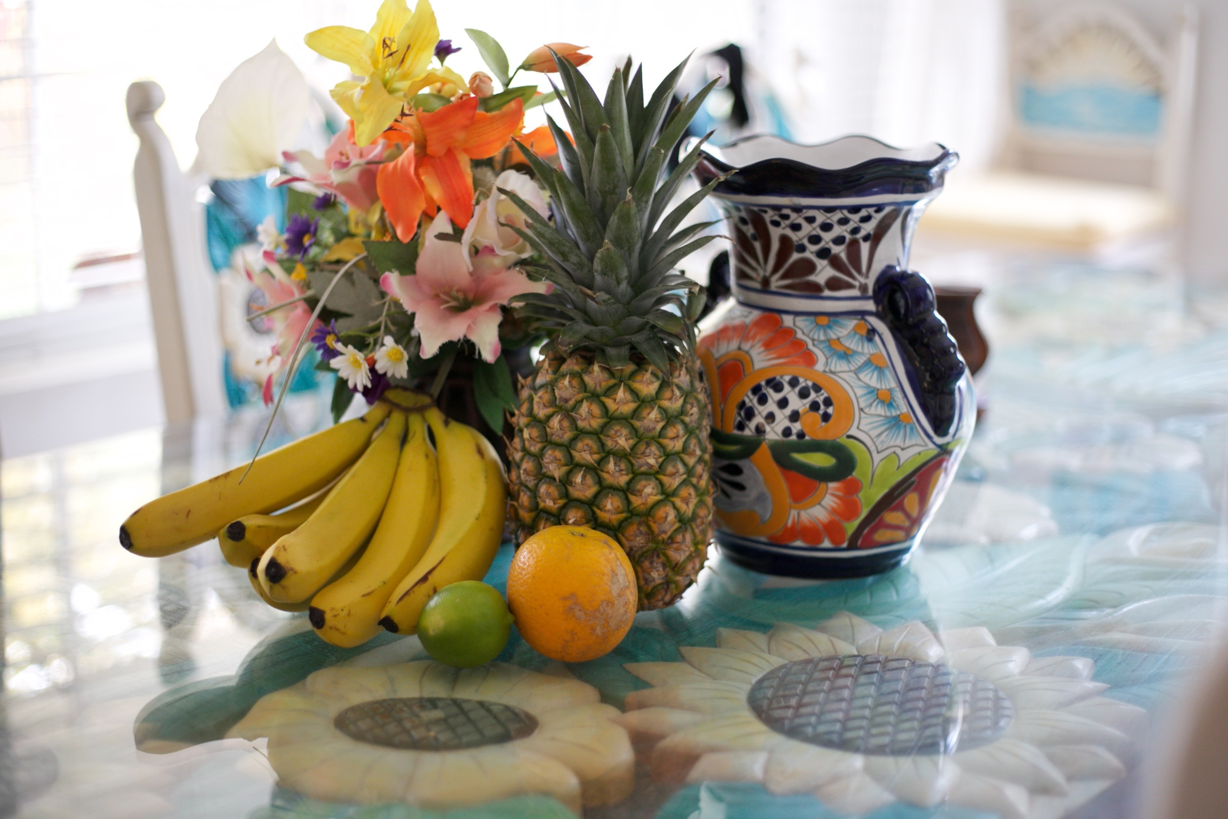 Fresh fruit in Mexico - pineapples and bananas.