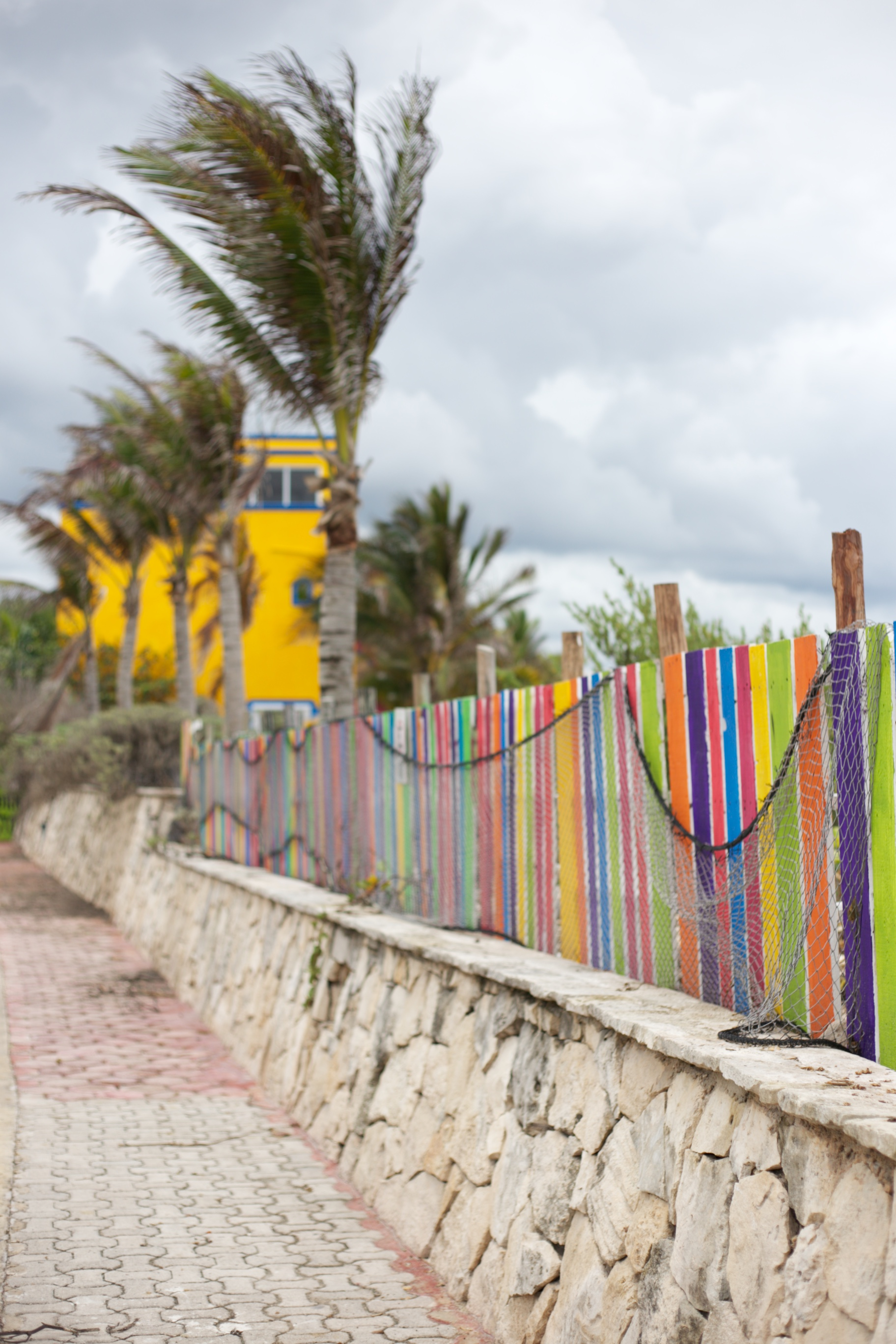 Stormy weather and colourful fences and palm trees in Akumal, near Cancun.