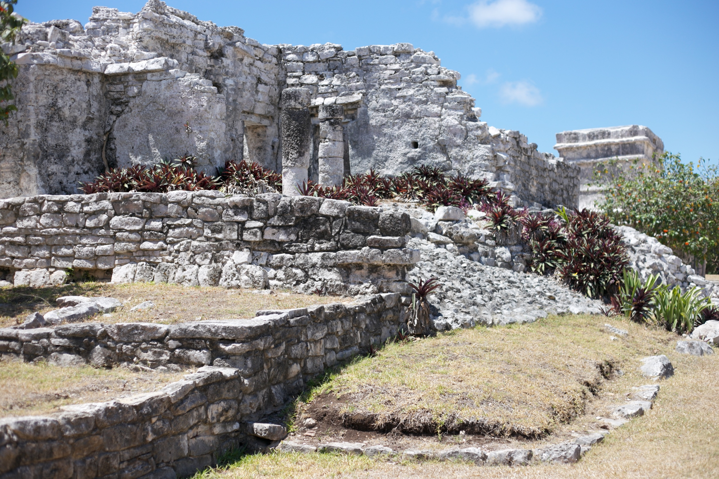 Stone ruins at the Mayan walled city of Tulum.