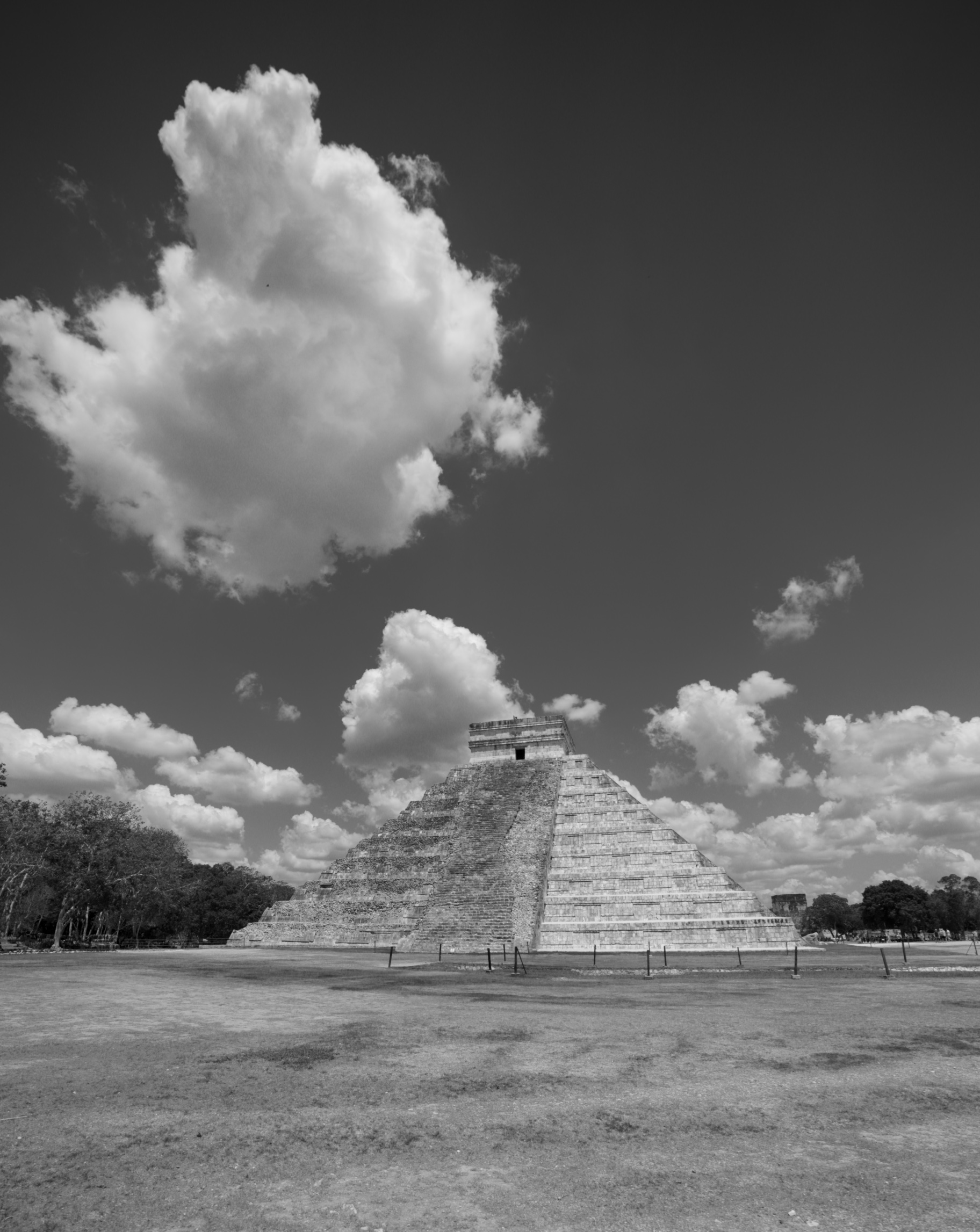 Chichen Itza in black and white photography.