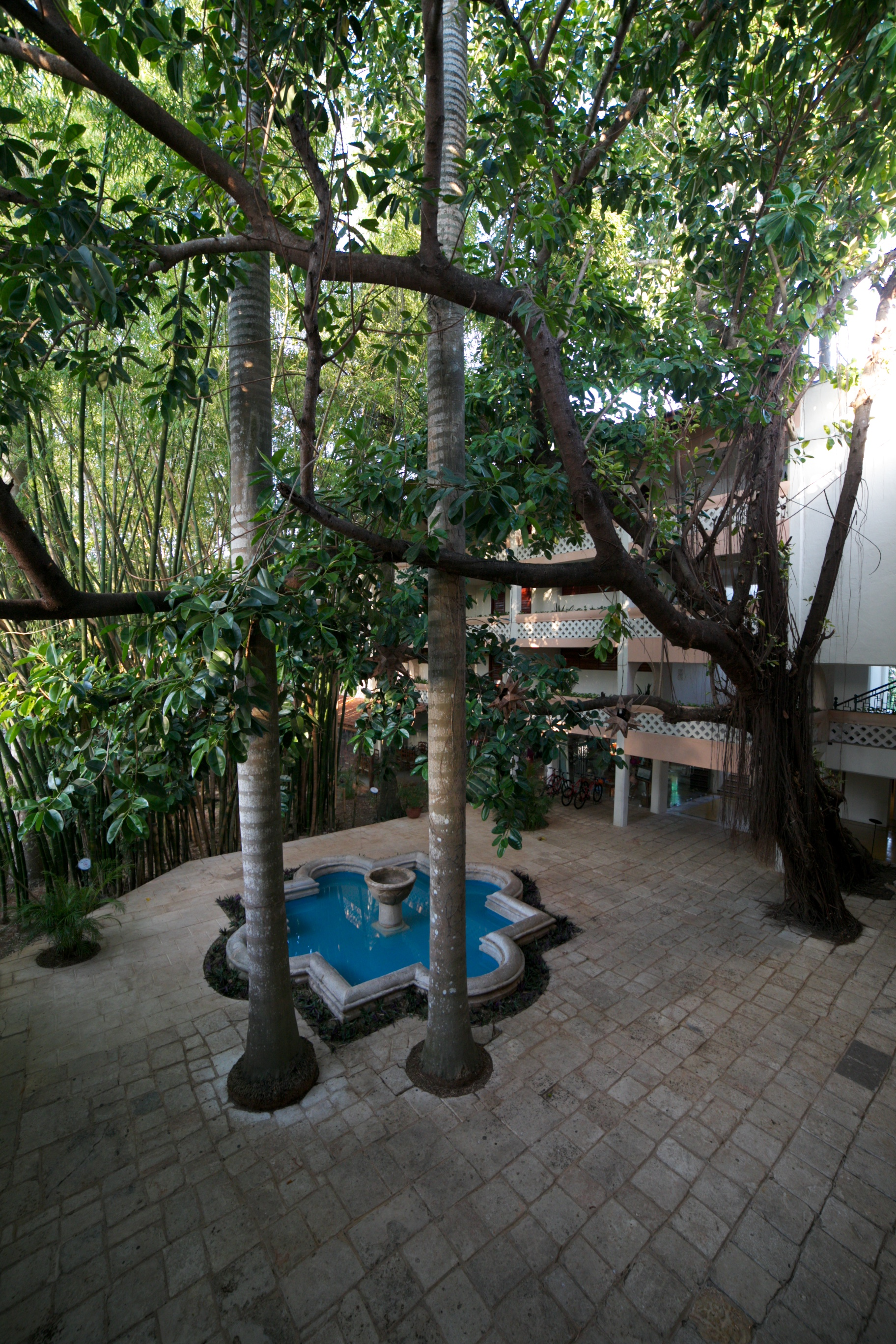 Gorgeous courtyard and fountain in the jungle - The Lodge at Chichen Itza.