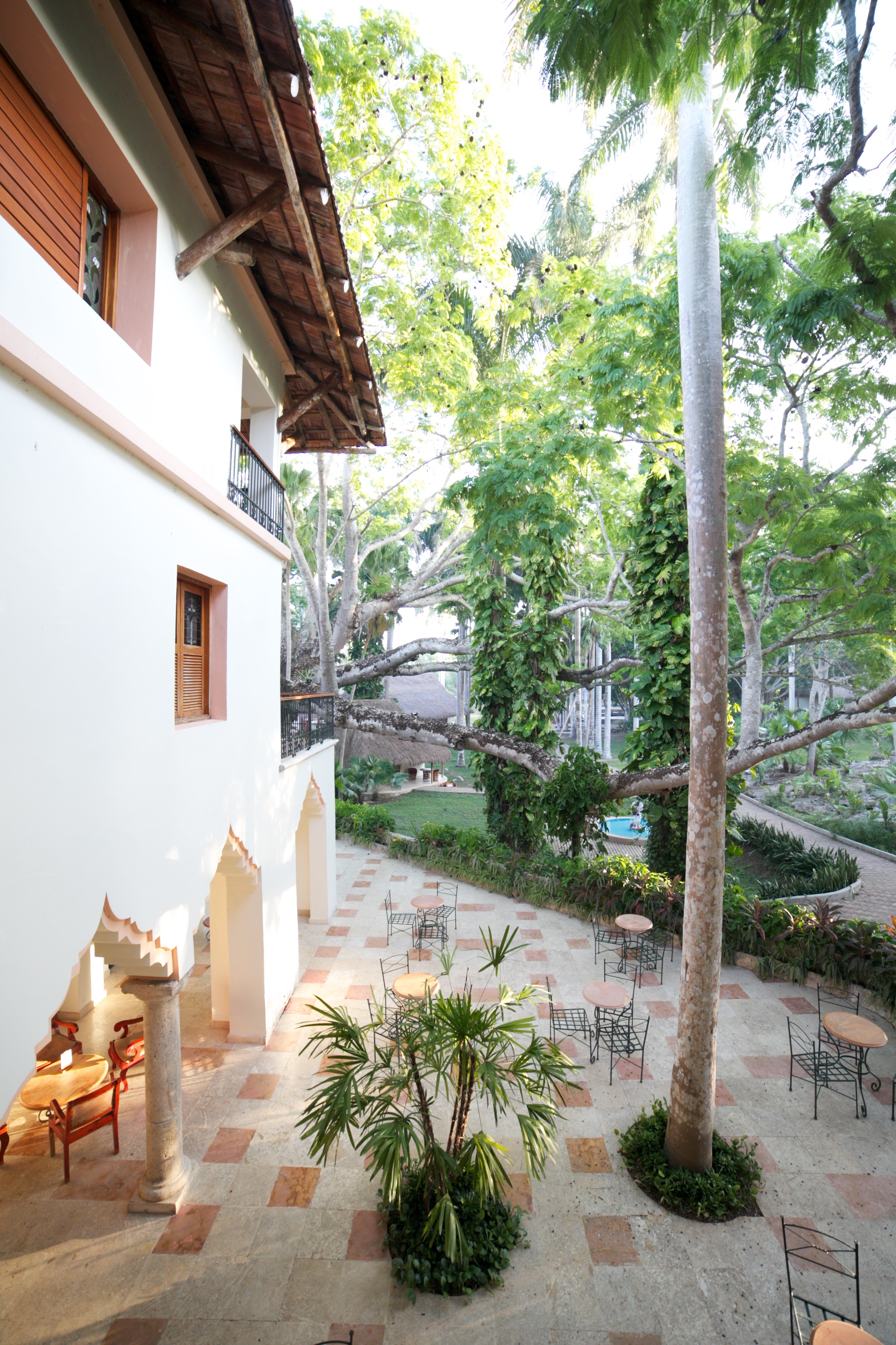 Beautiful old world style hotel in Cancun, in the jungle.