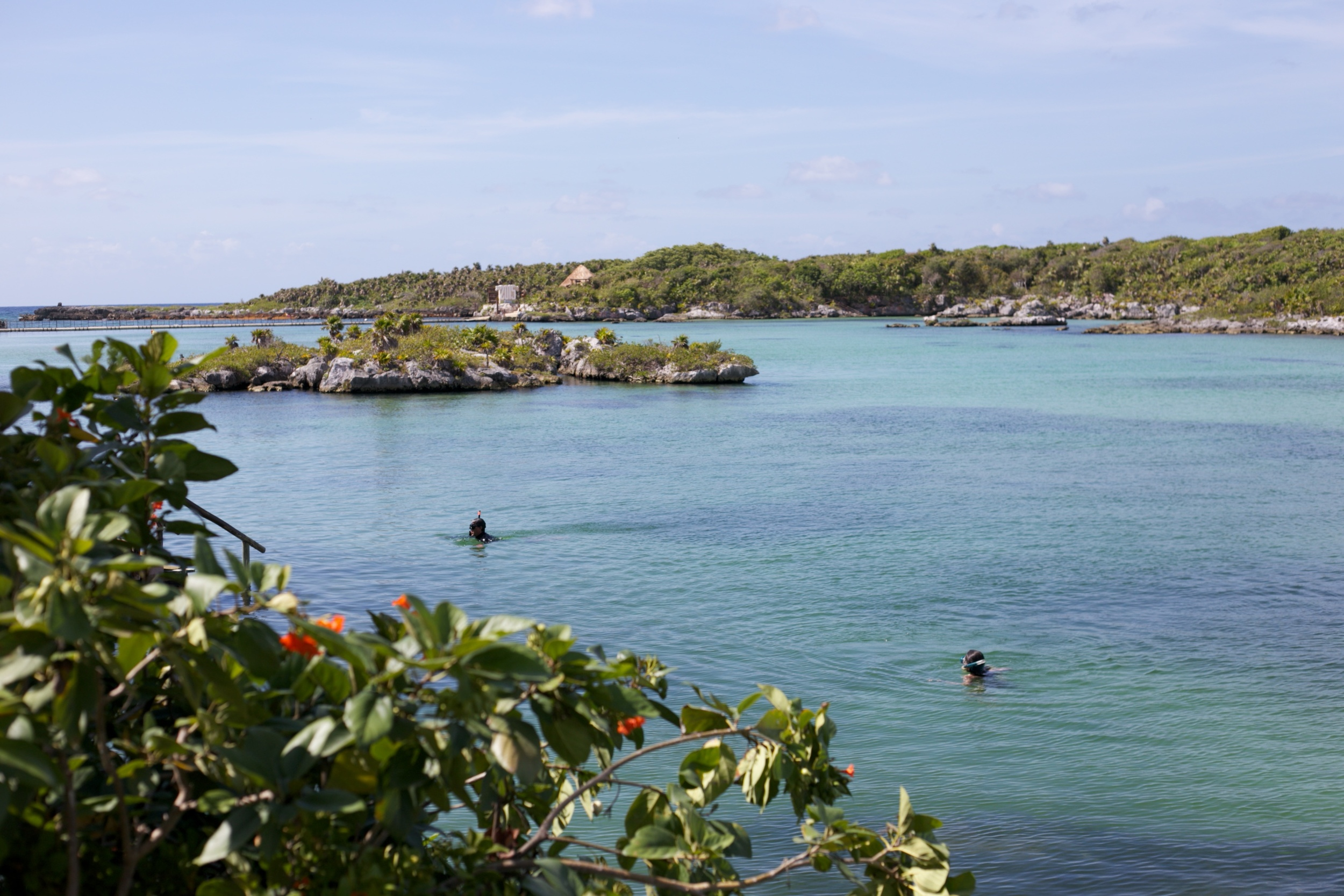 Xel Ha Lagoon - turquoise waters and snorkelers.