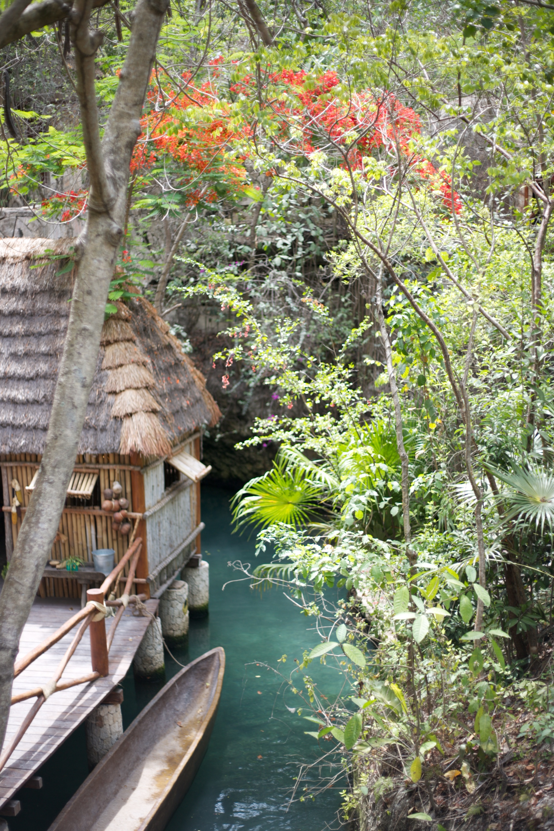 Swimming in the underground rivers of Xcaret, Mexico.
