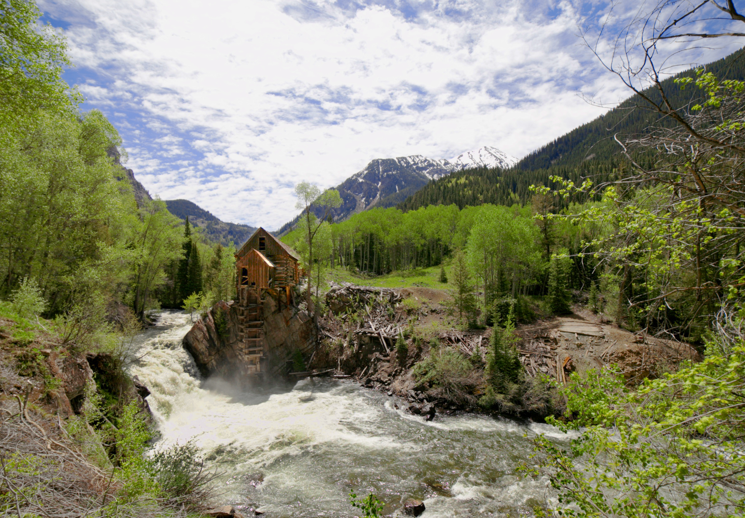 The Crystal Mill photography in summer time, Colorado.