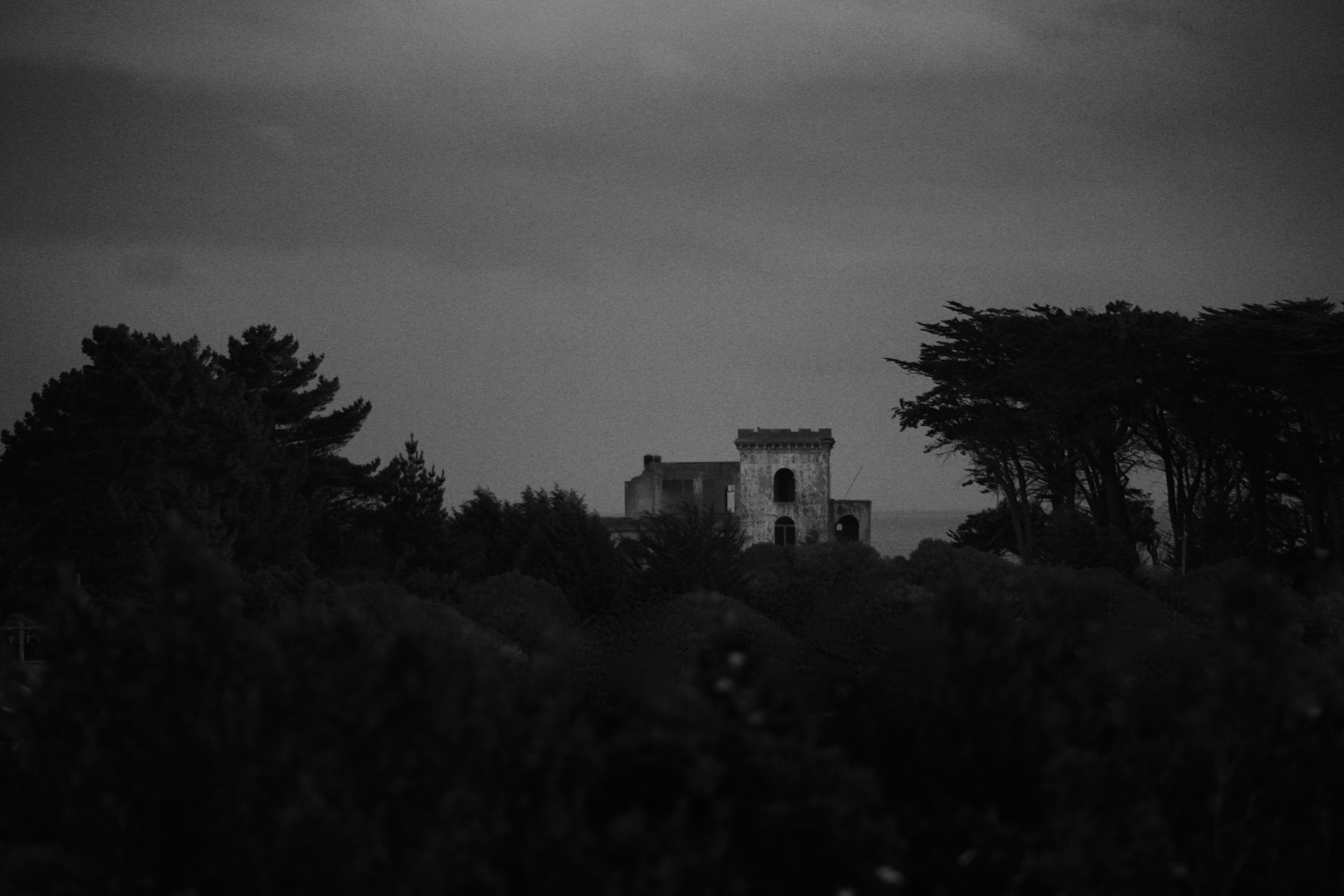 Cargill's Castle, black and white photography, Dunedin.