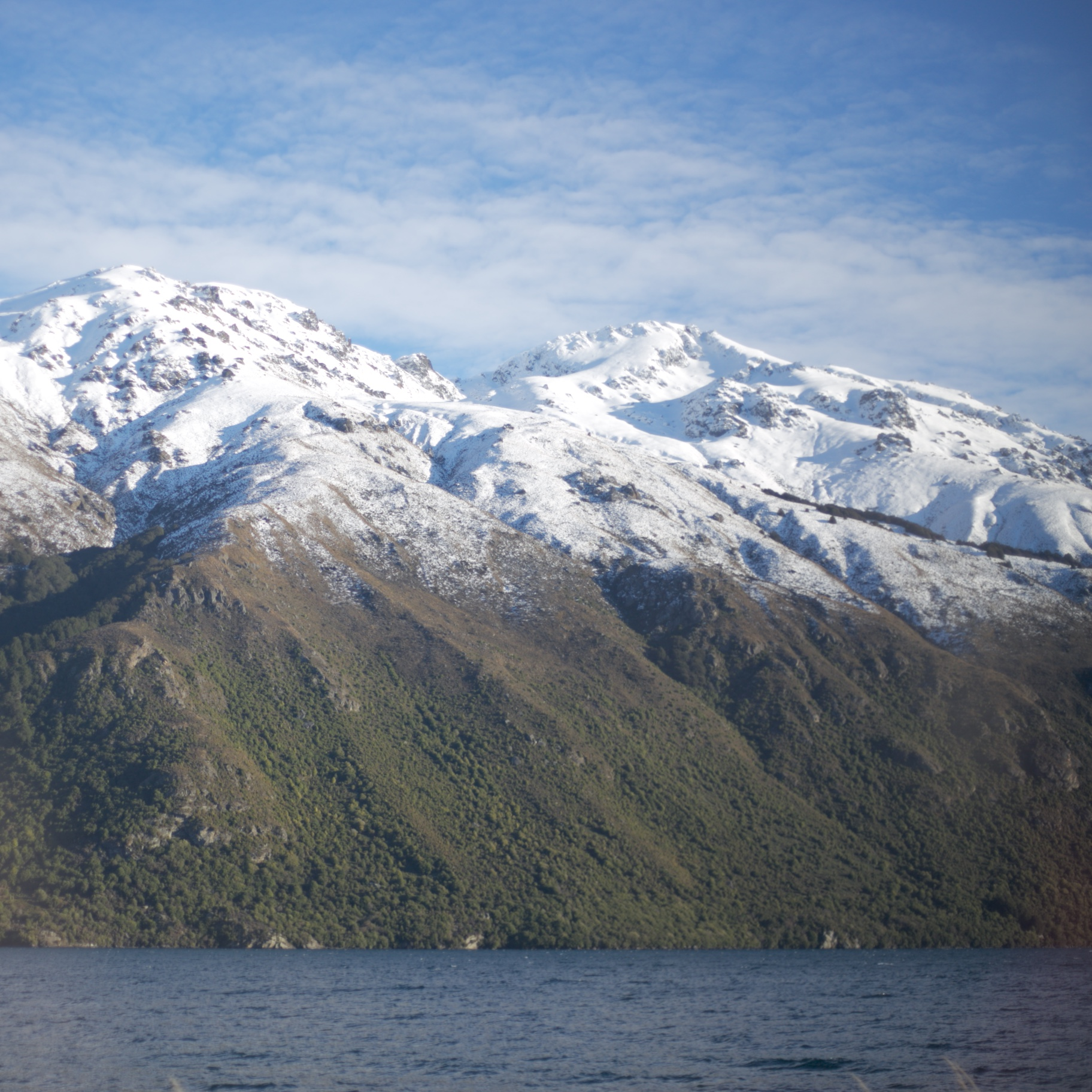 NZ snowy mountains and blue waters.