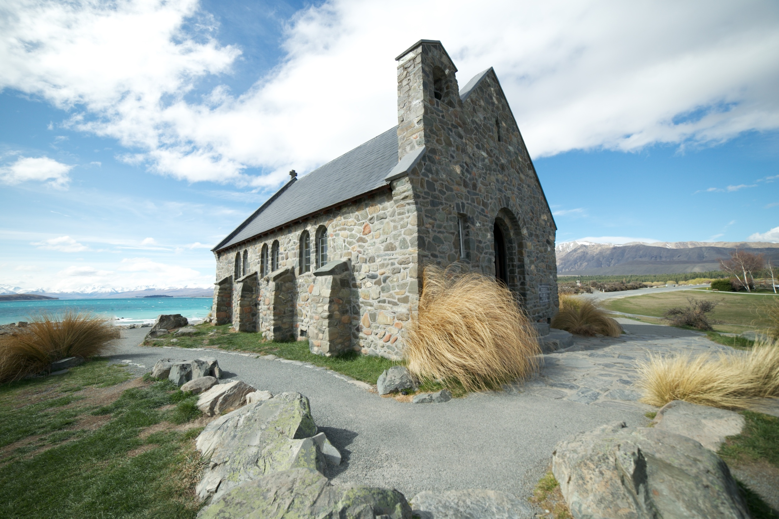 The church of the Good Shepherd by Lake Tekapo in spring daytime, New Zealand.