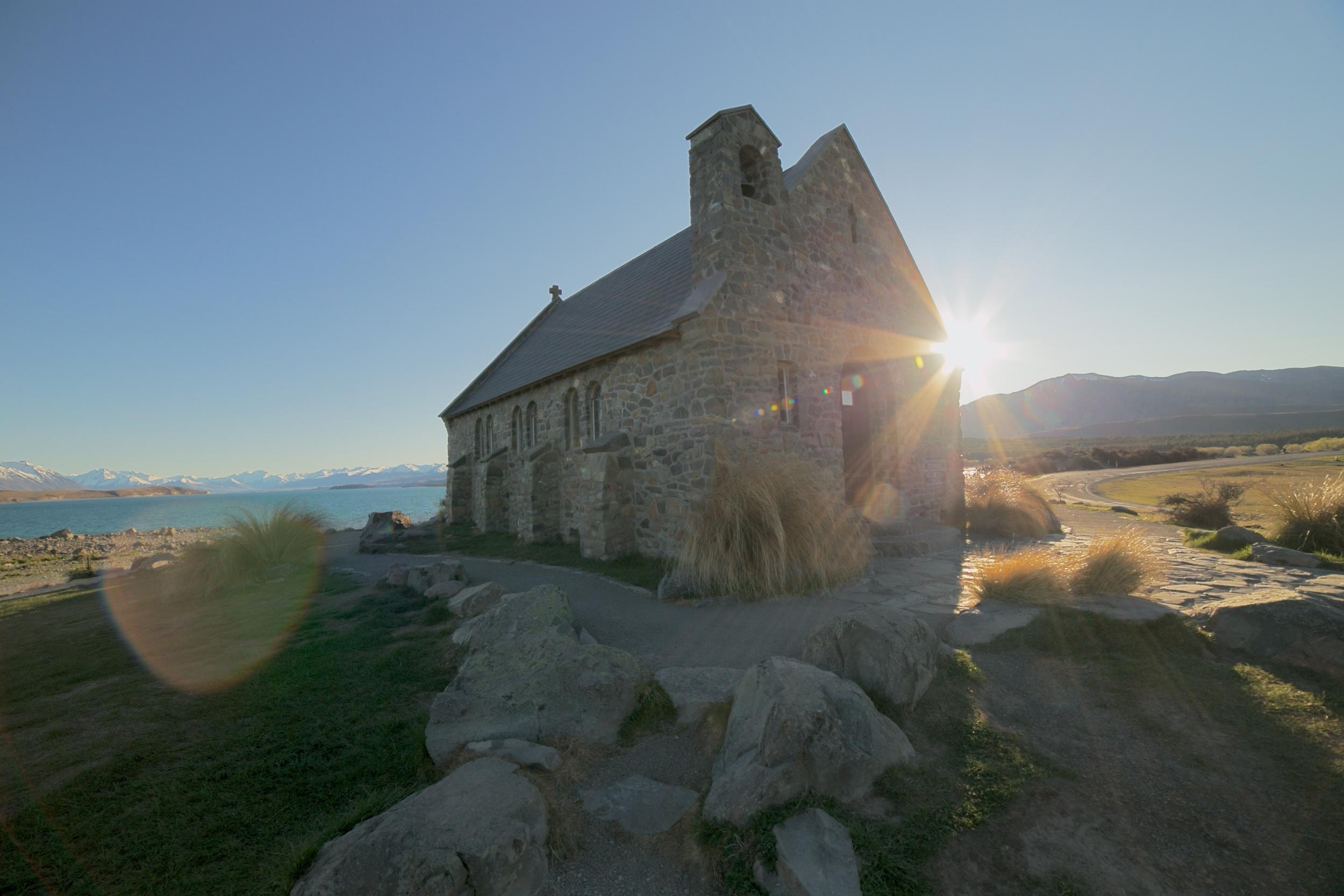 Sundown at the church of the Good Shepherd, Lake Tekapo, NZ.