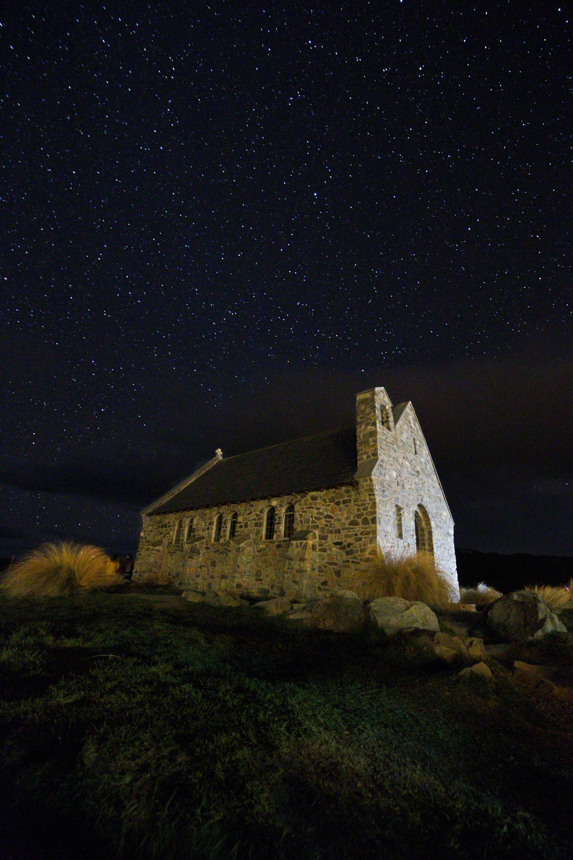 The Church of the Good Shepherd at night under stars, Tekapo.