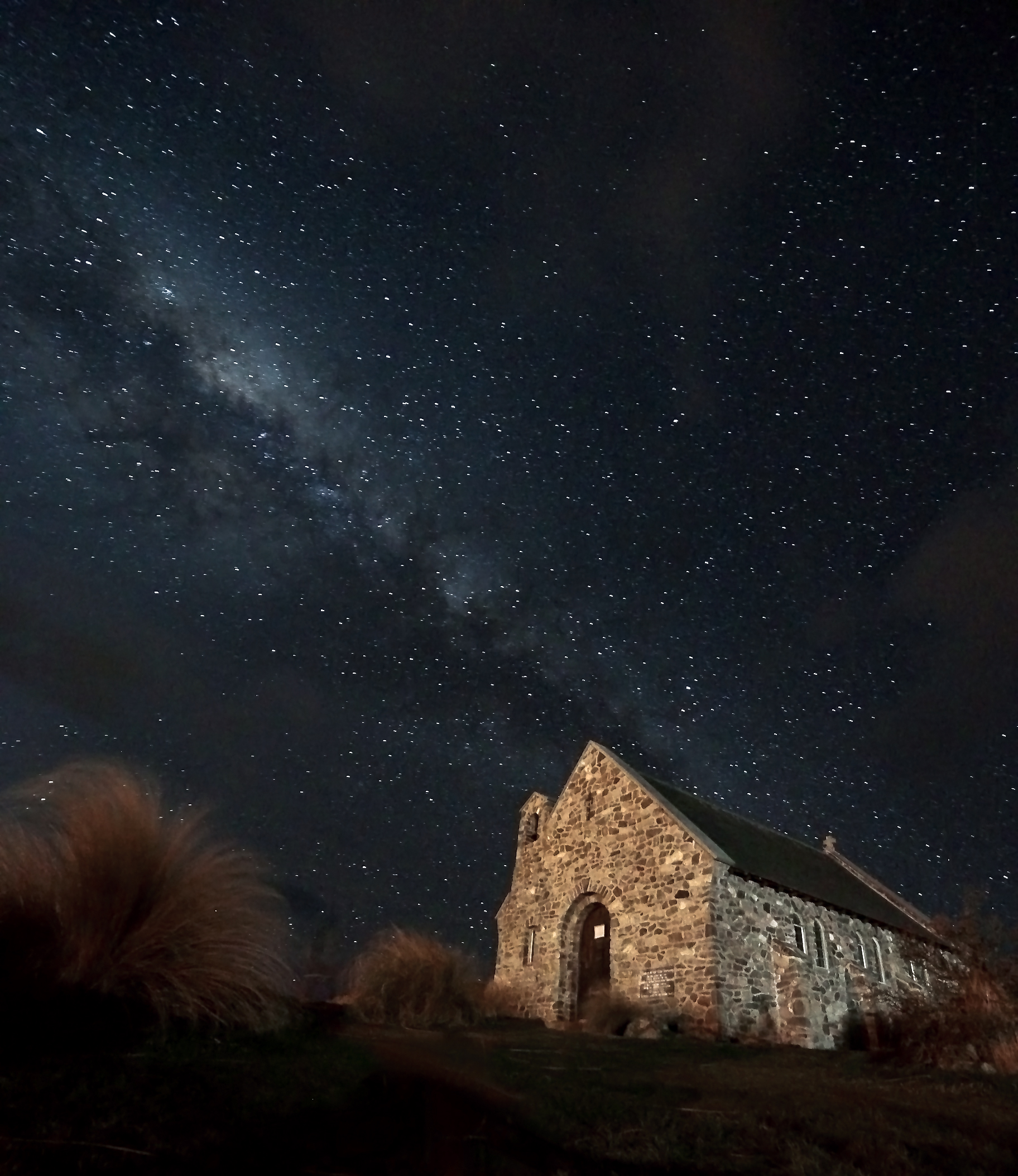 The Church of the Good Shepherd and the milky way of stars, Tekapo.