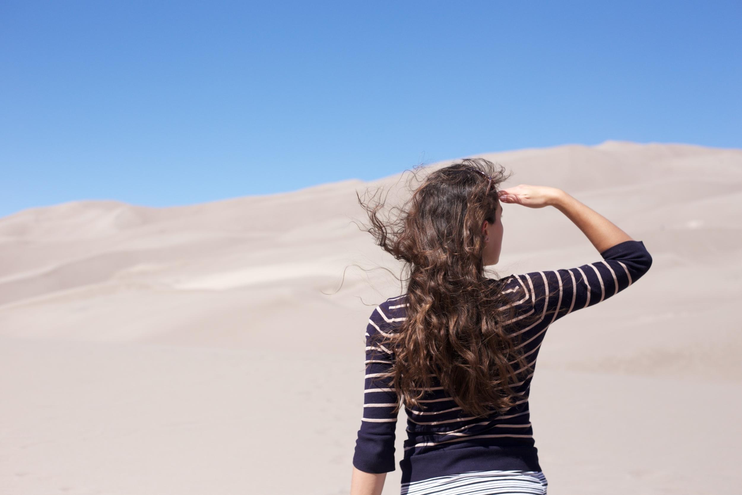 Surveying the sand dunes, Colorado.