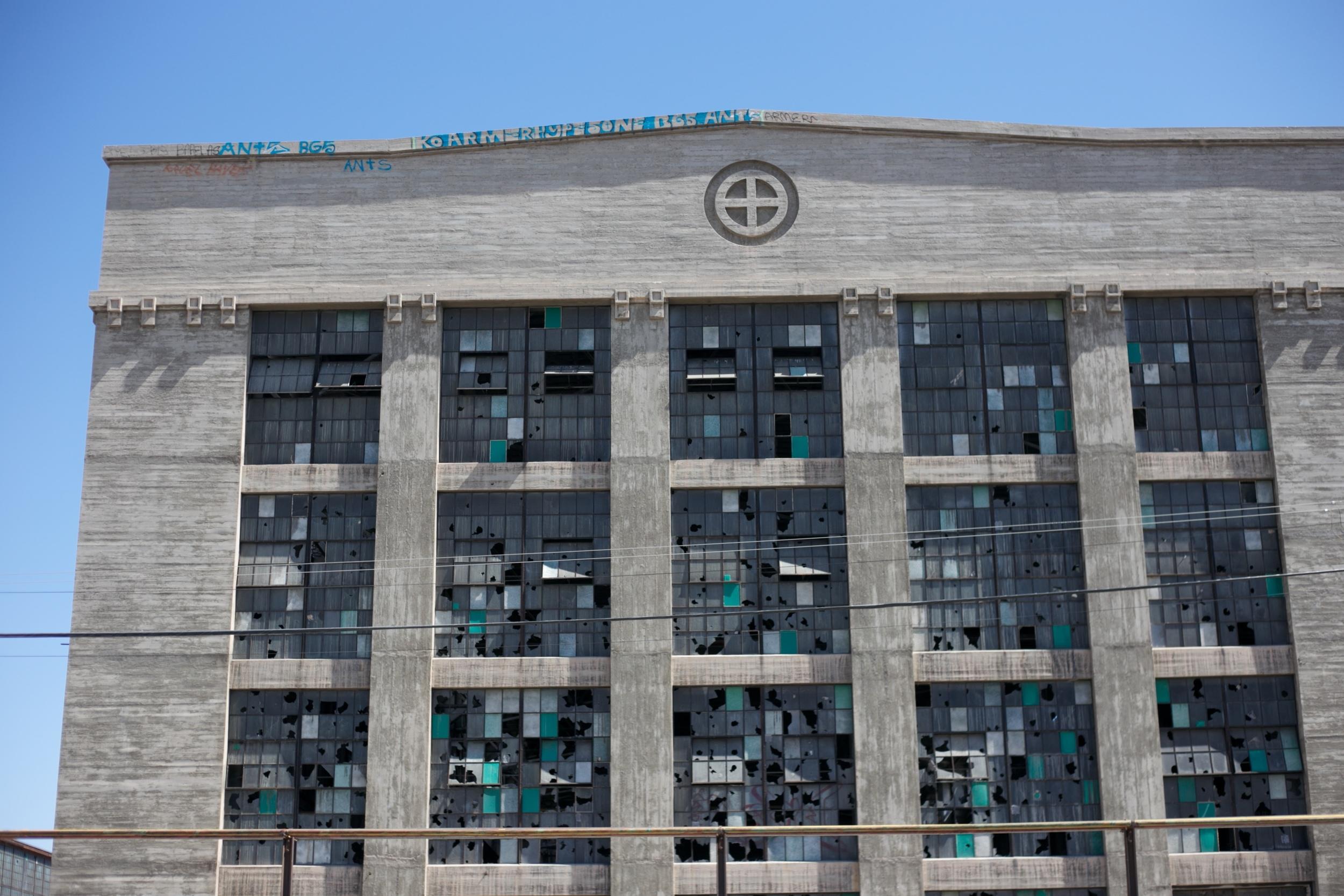 Glass windows at the Rail Yards.