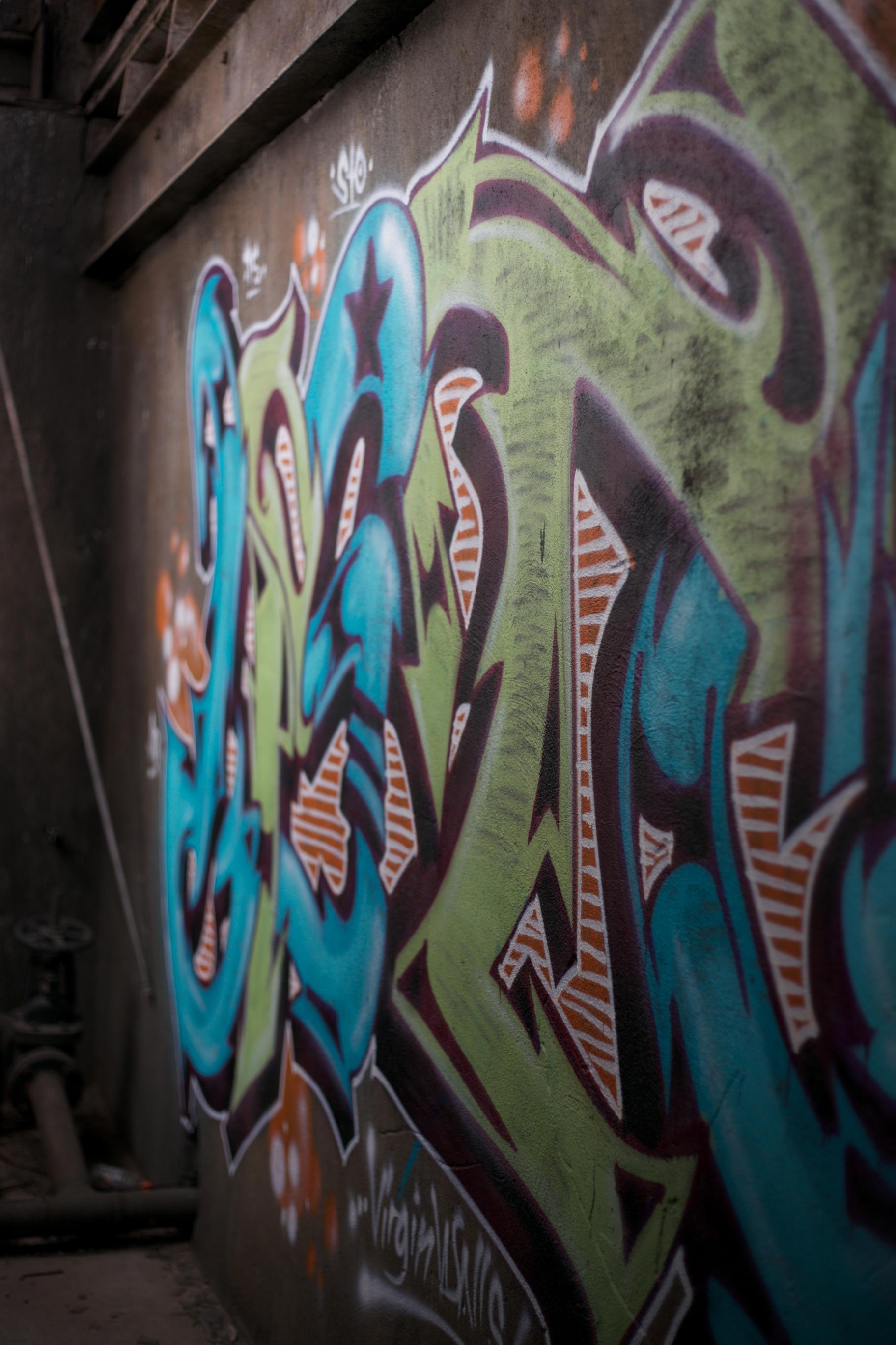 Colourful graffiti at the Rail Yards.