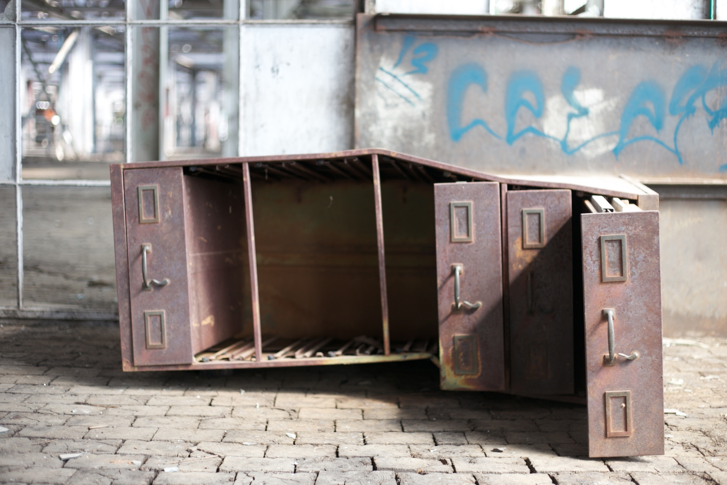 An old filing cabinet at the Rail Yards in Albuquerque.