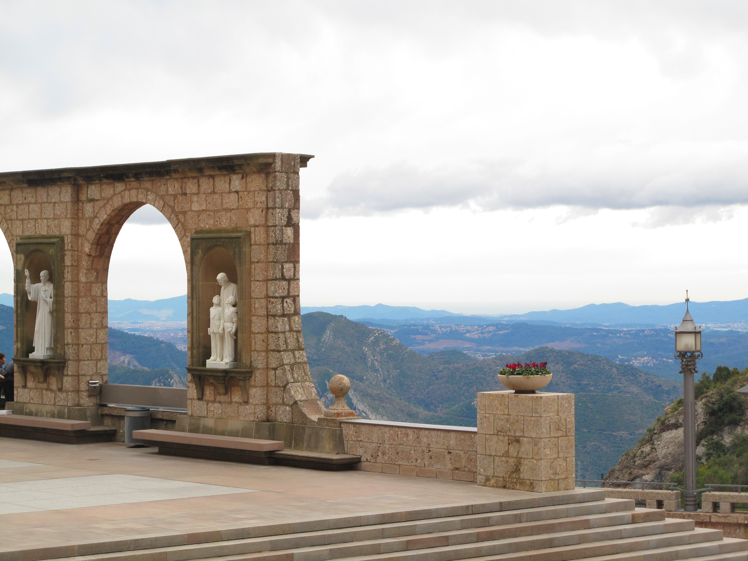 Walls and stone figures in the courtyards of Montserrat monastery