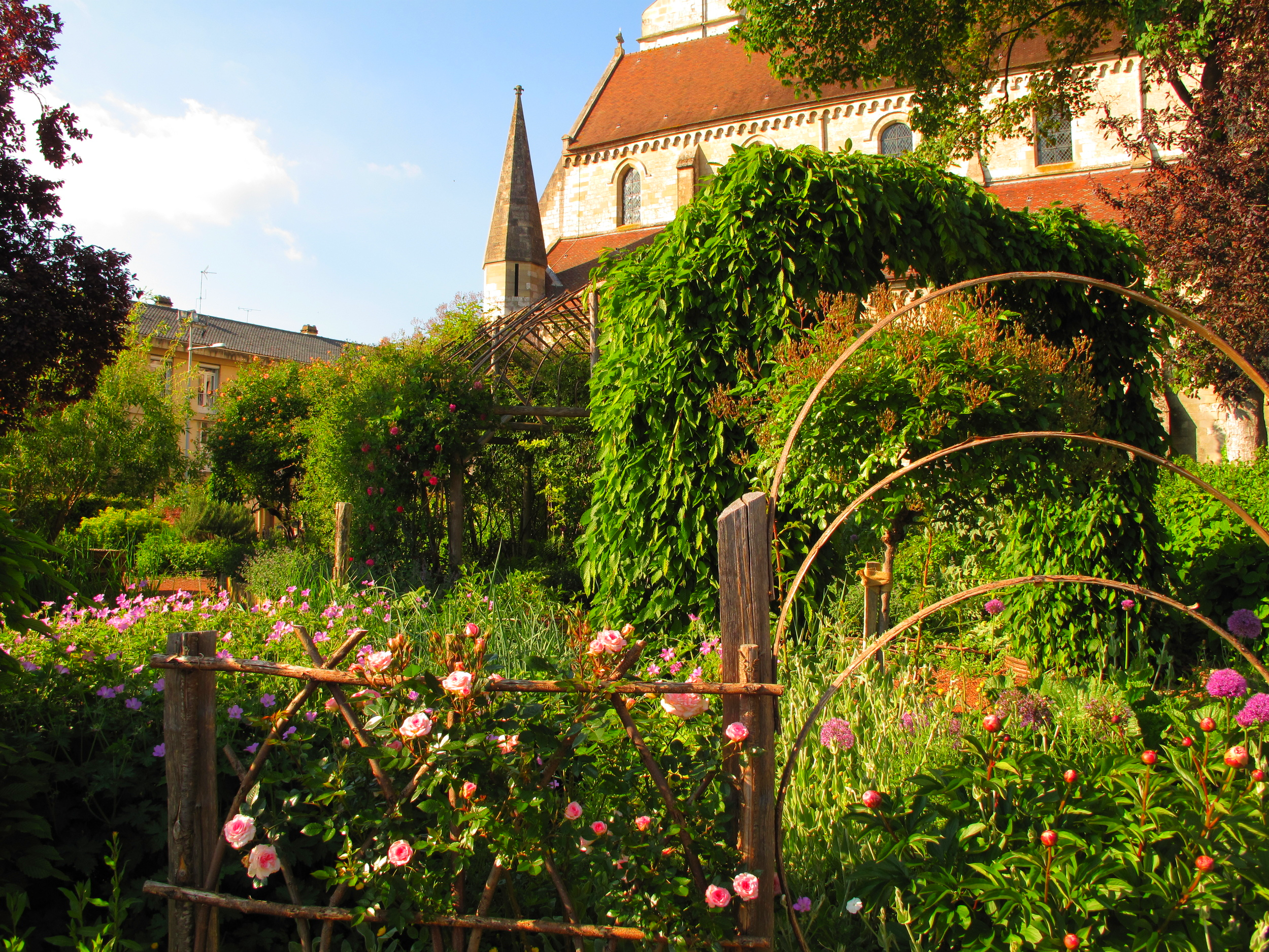 Old French garden of roses in a churchyard in Beauvais