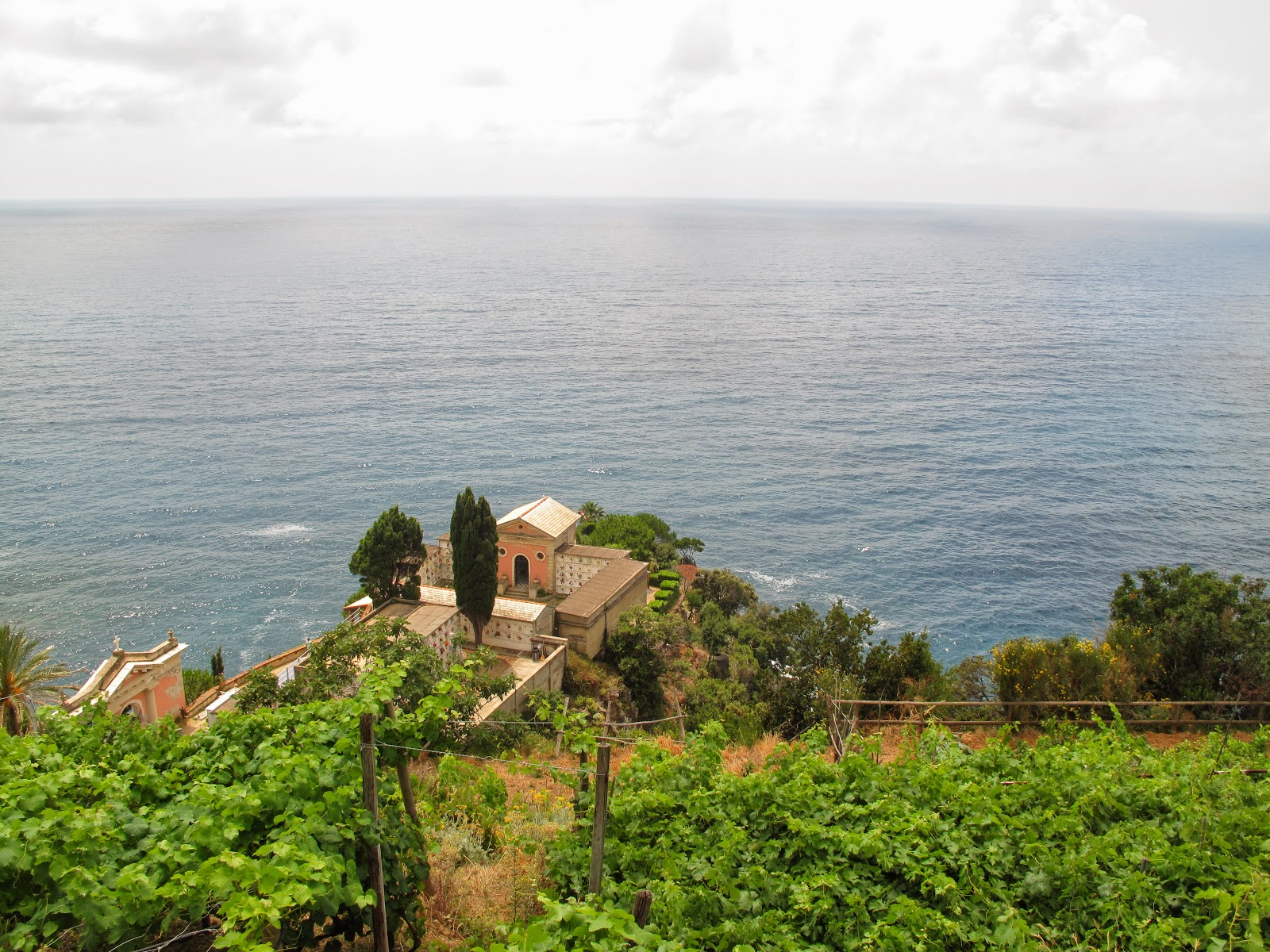The view from a cliff on the Cinque Terre, Italy.