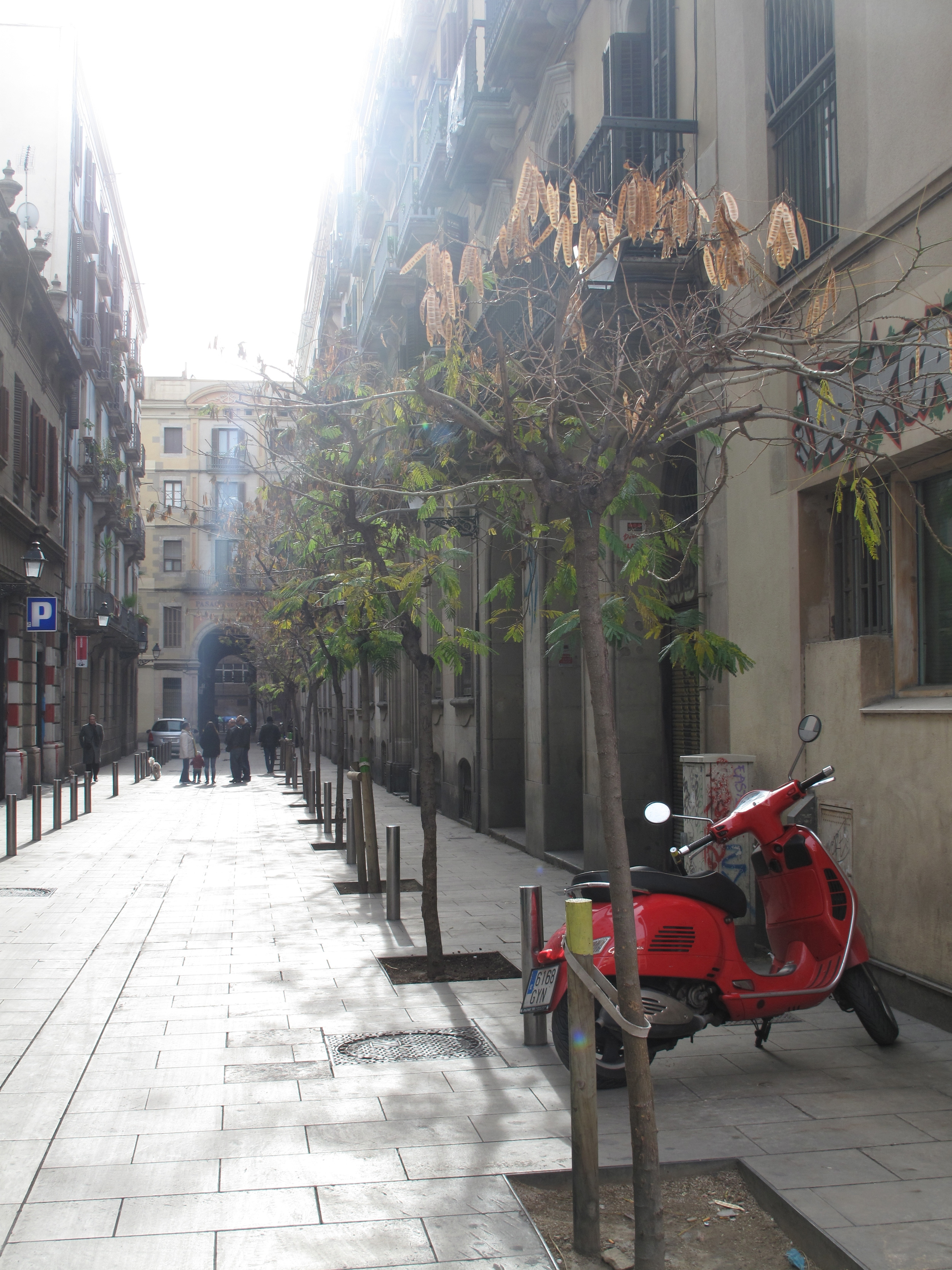 Red scooter in Barcelona old town.