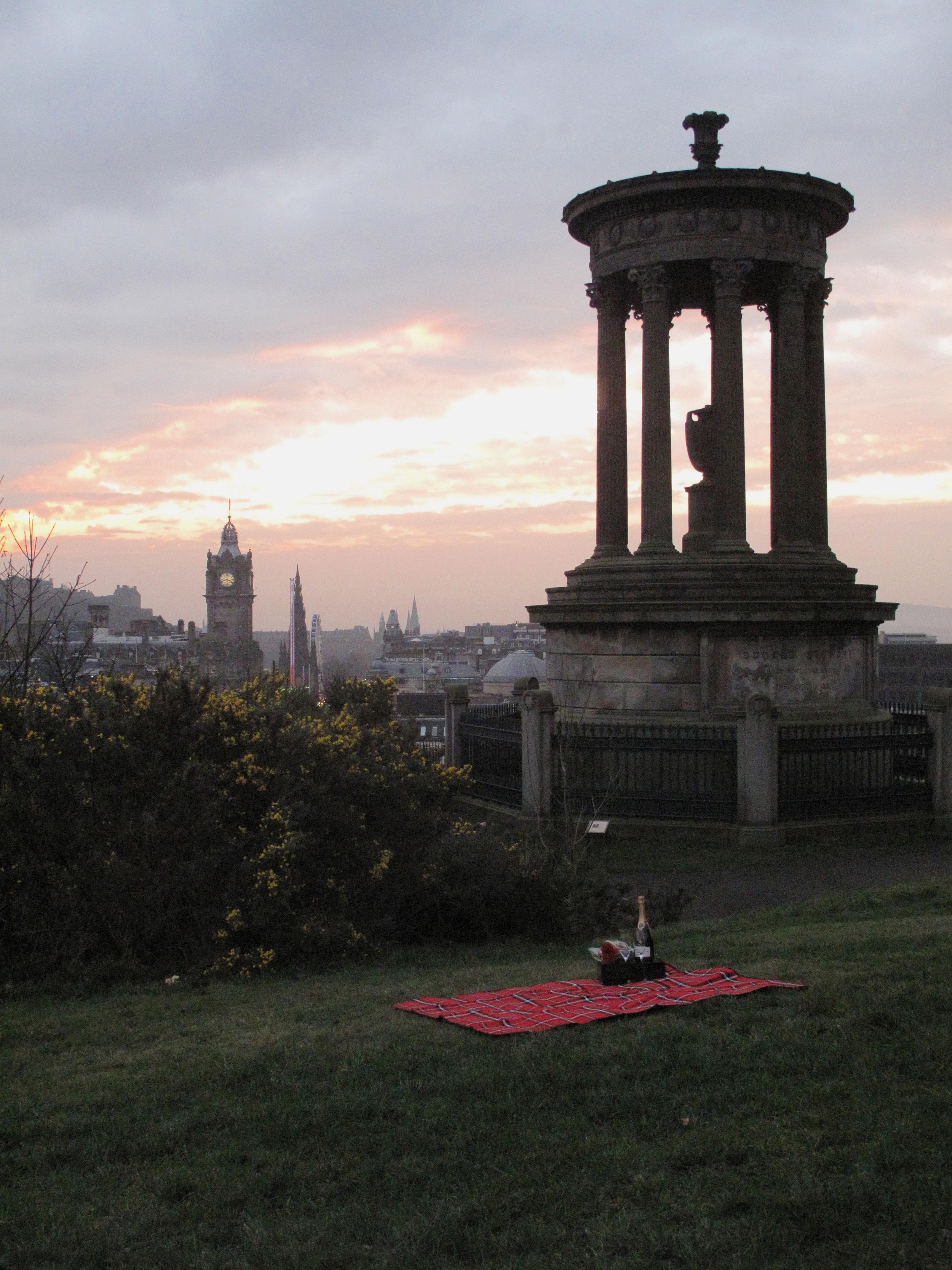a picnic spread on Calton Hill
