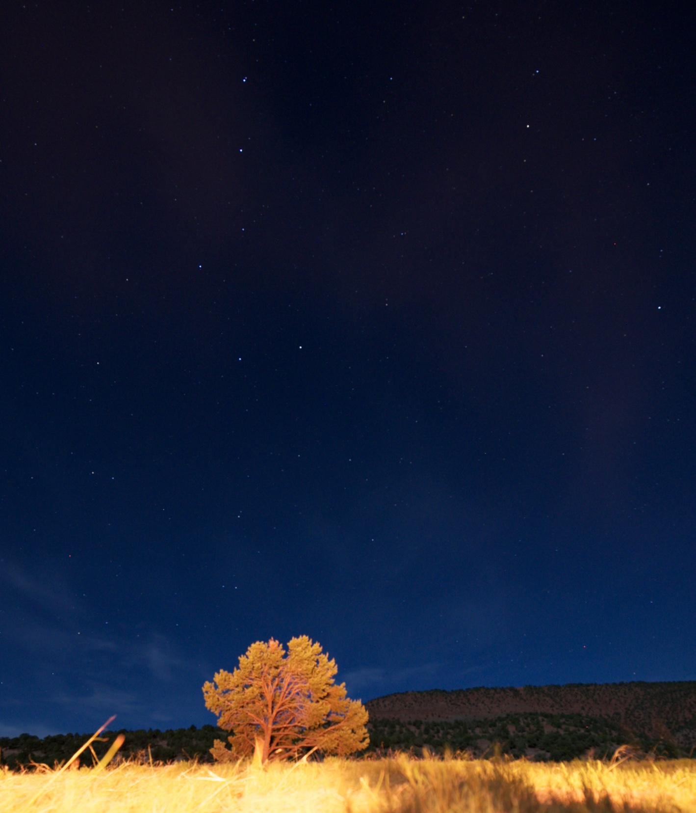 Midsummer night sky lit by a bonfire.