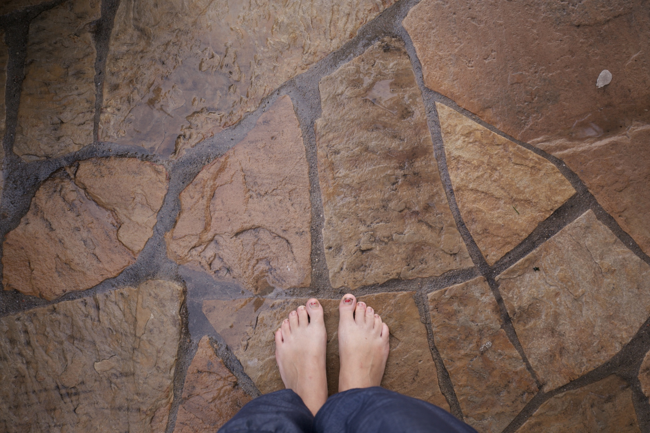 Standing in puddles on the patio.