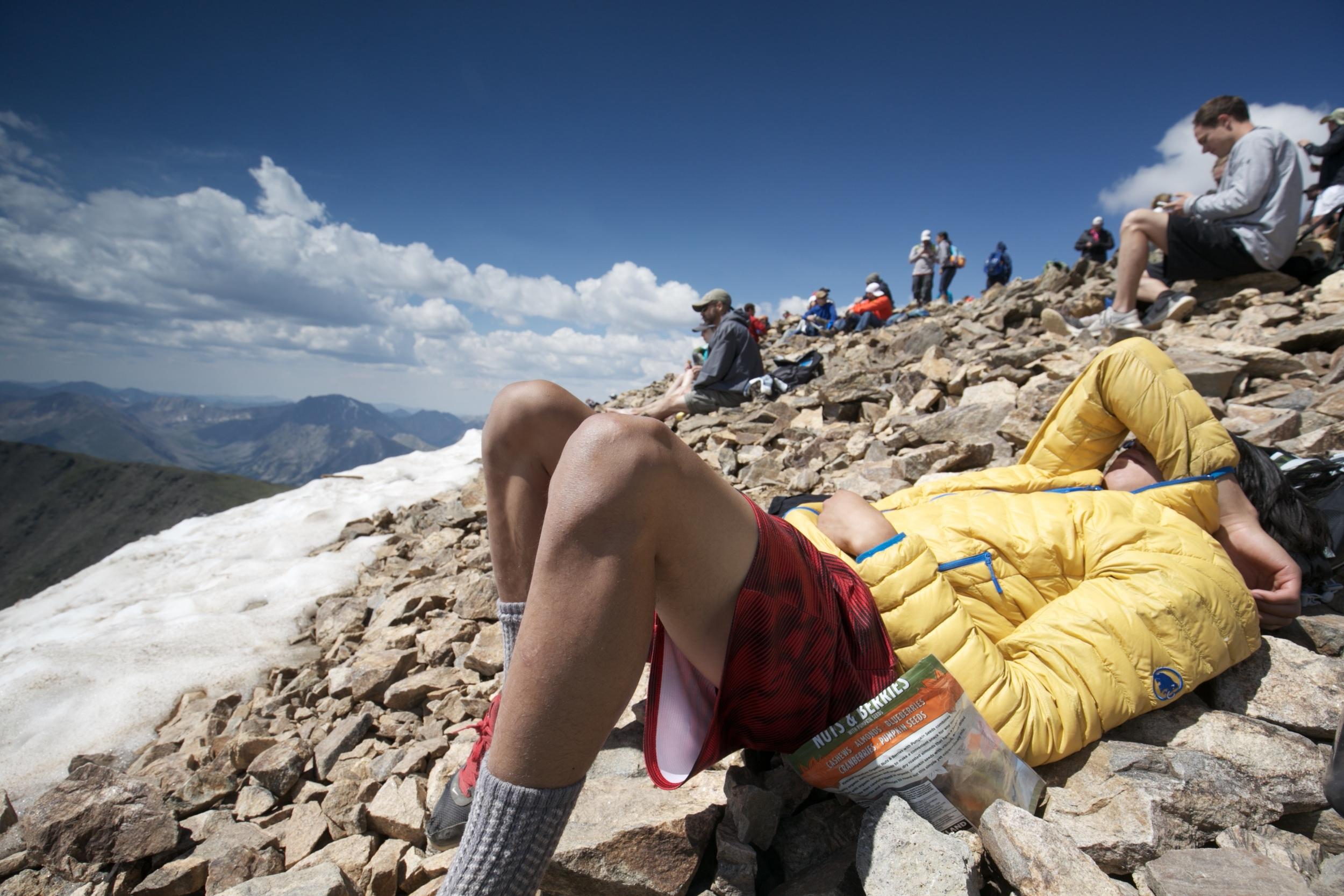 Resting at the top of Mount Elbert.