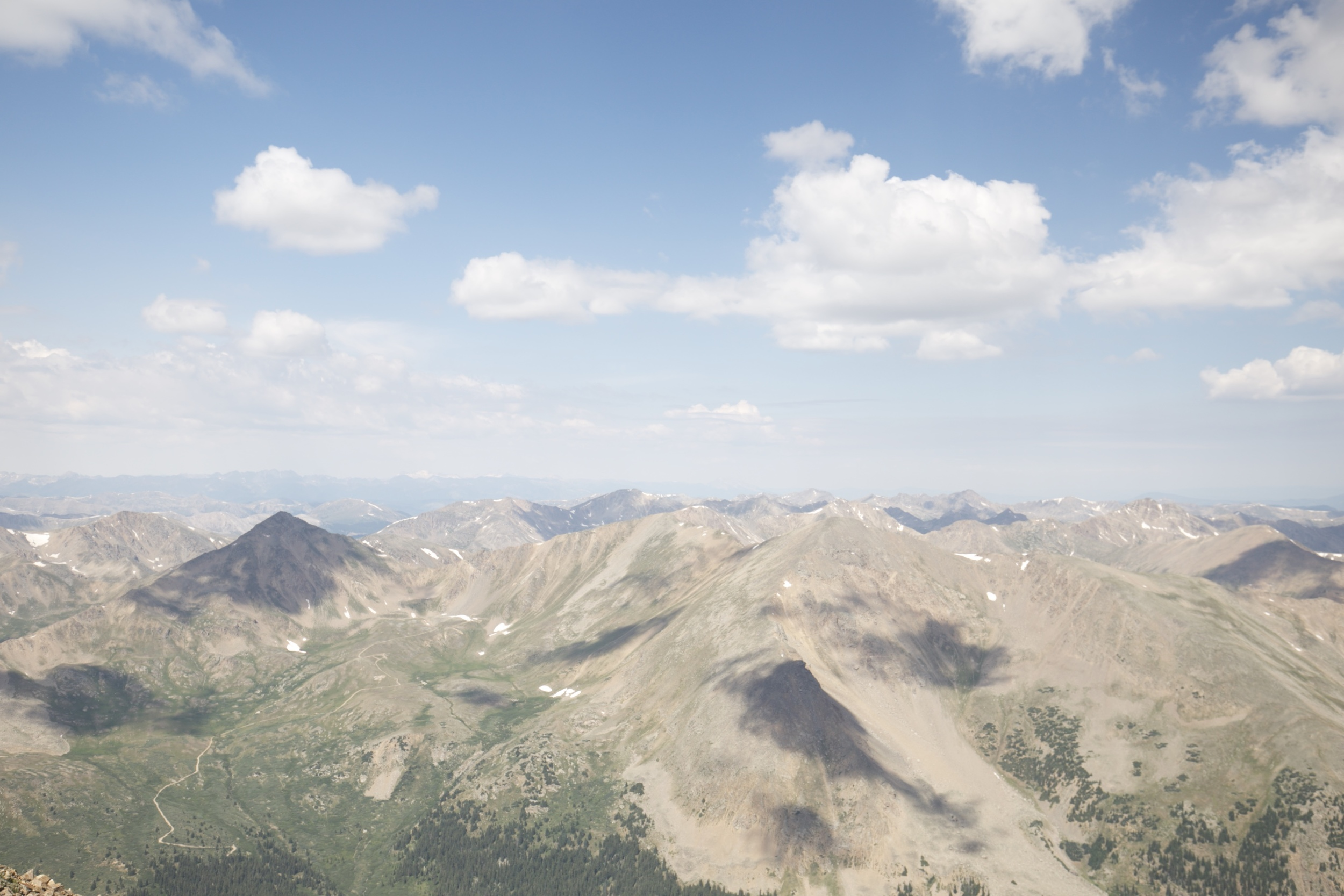 The view of the Rocky Mountains from Mount Elbert, Colorado.
