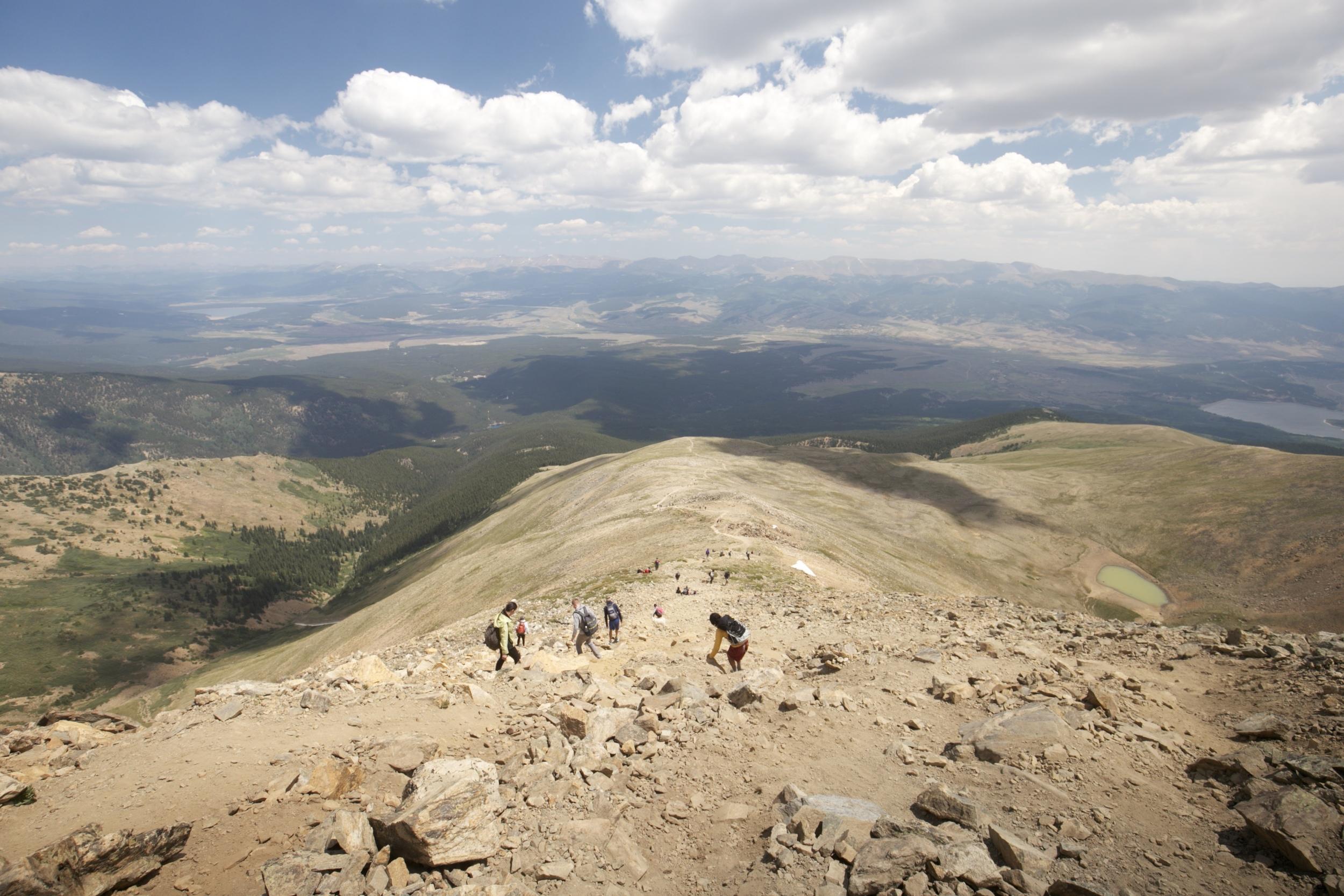 The steep slope of Mount Elbert.