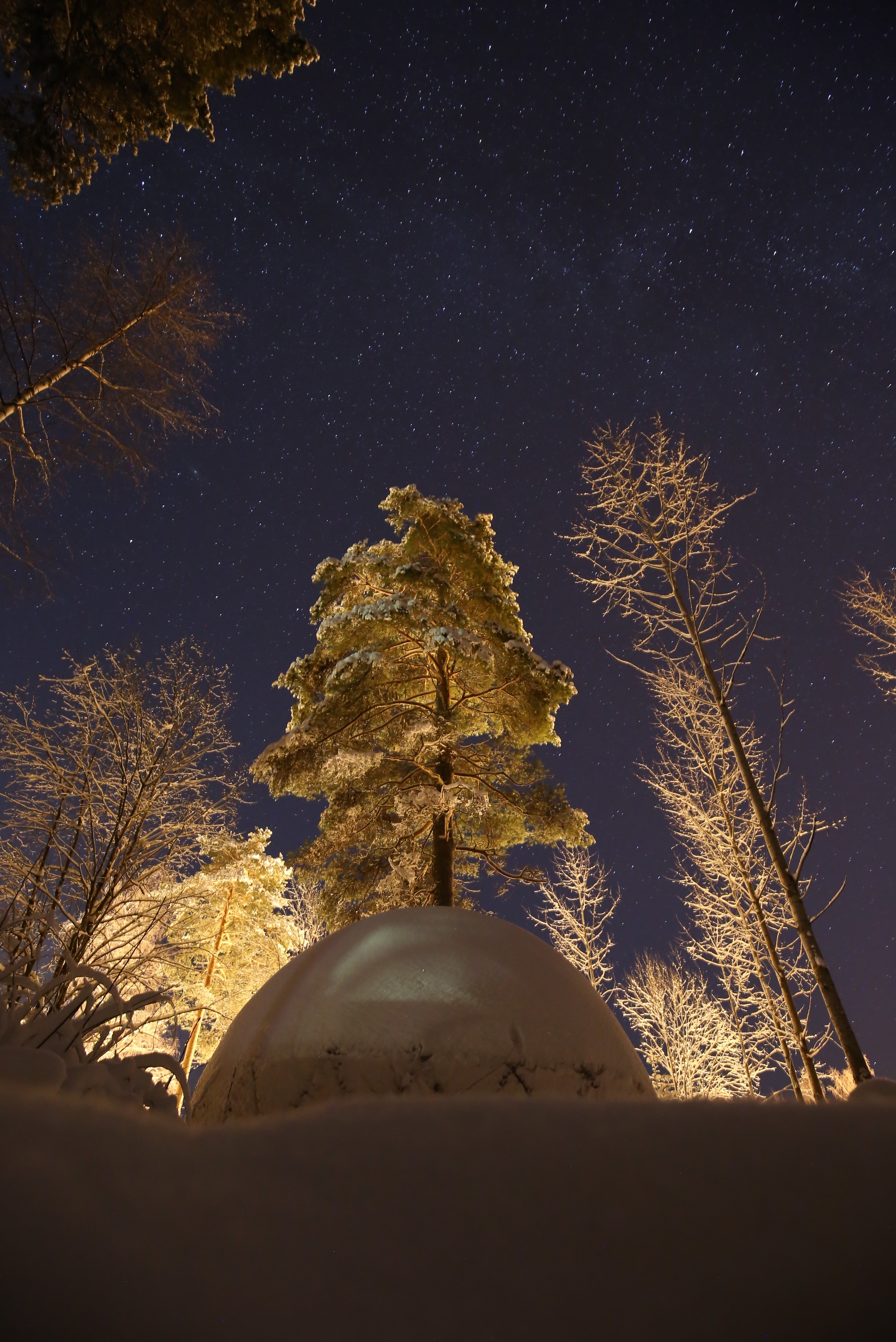 winter sky and igloo Finland