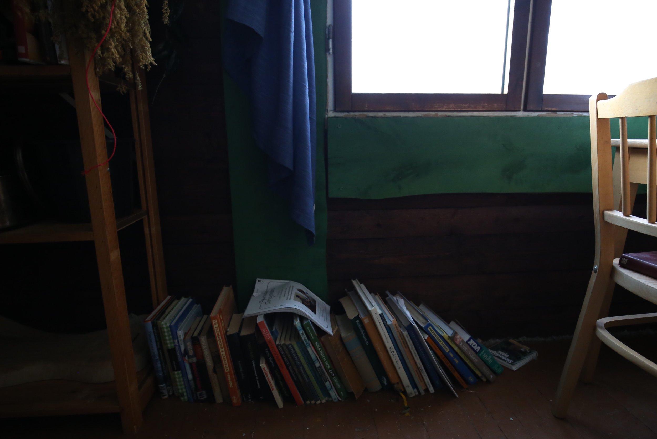 books on the floor